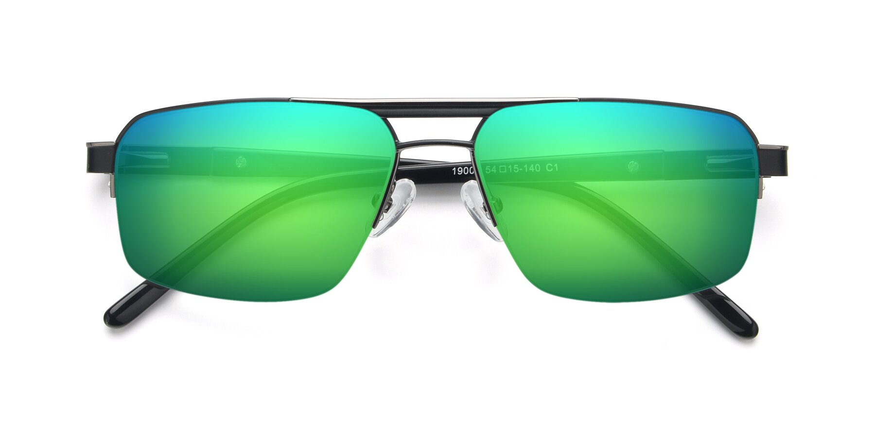 Folded Front of 19004 in Black-Gun with Green Mirrored Lenses