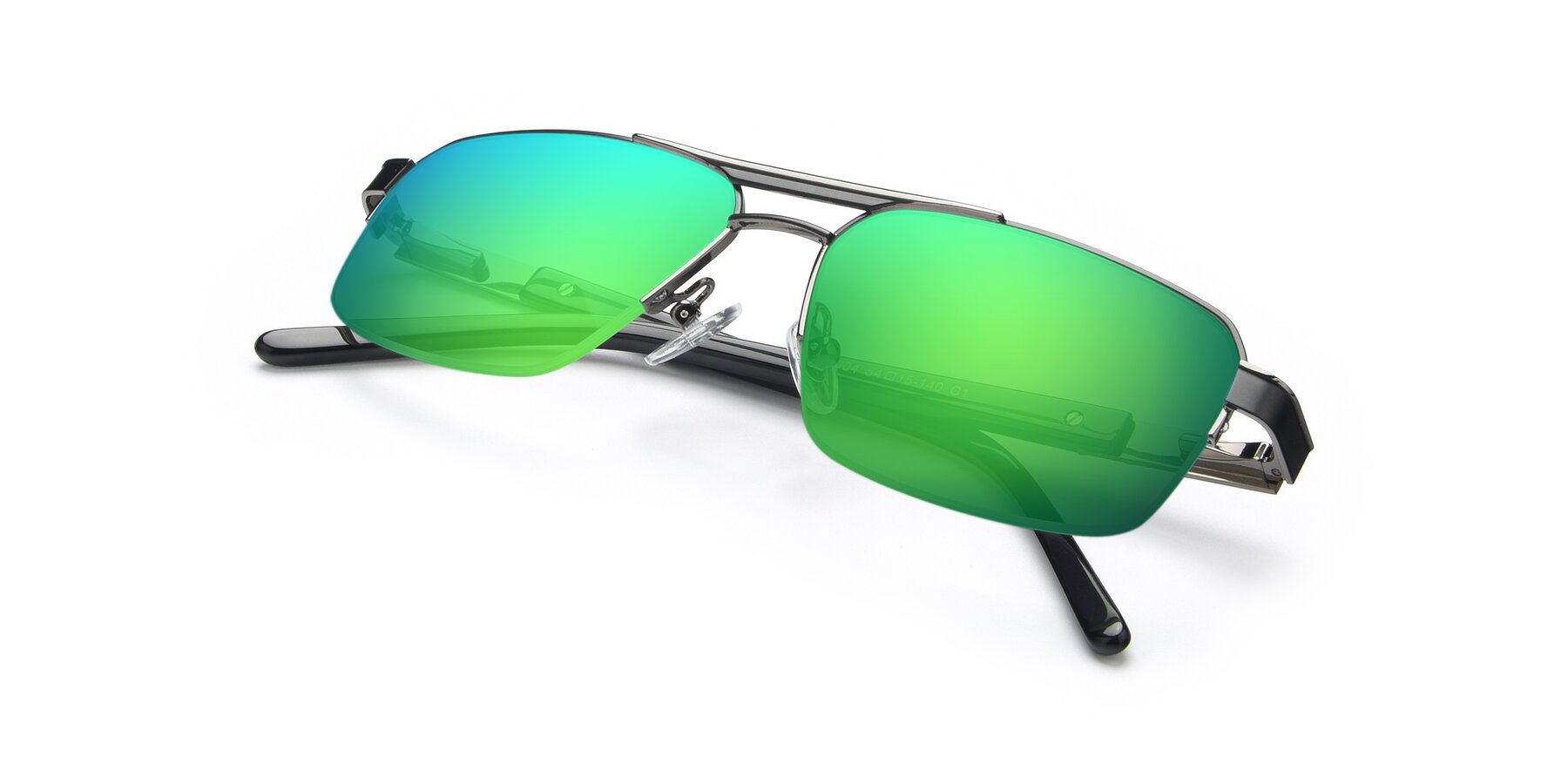 View of 19004 in Black-Gun with Green Mirrored Lenses