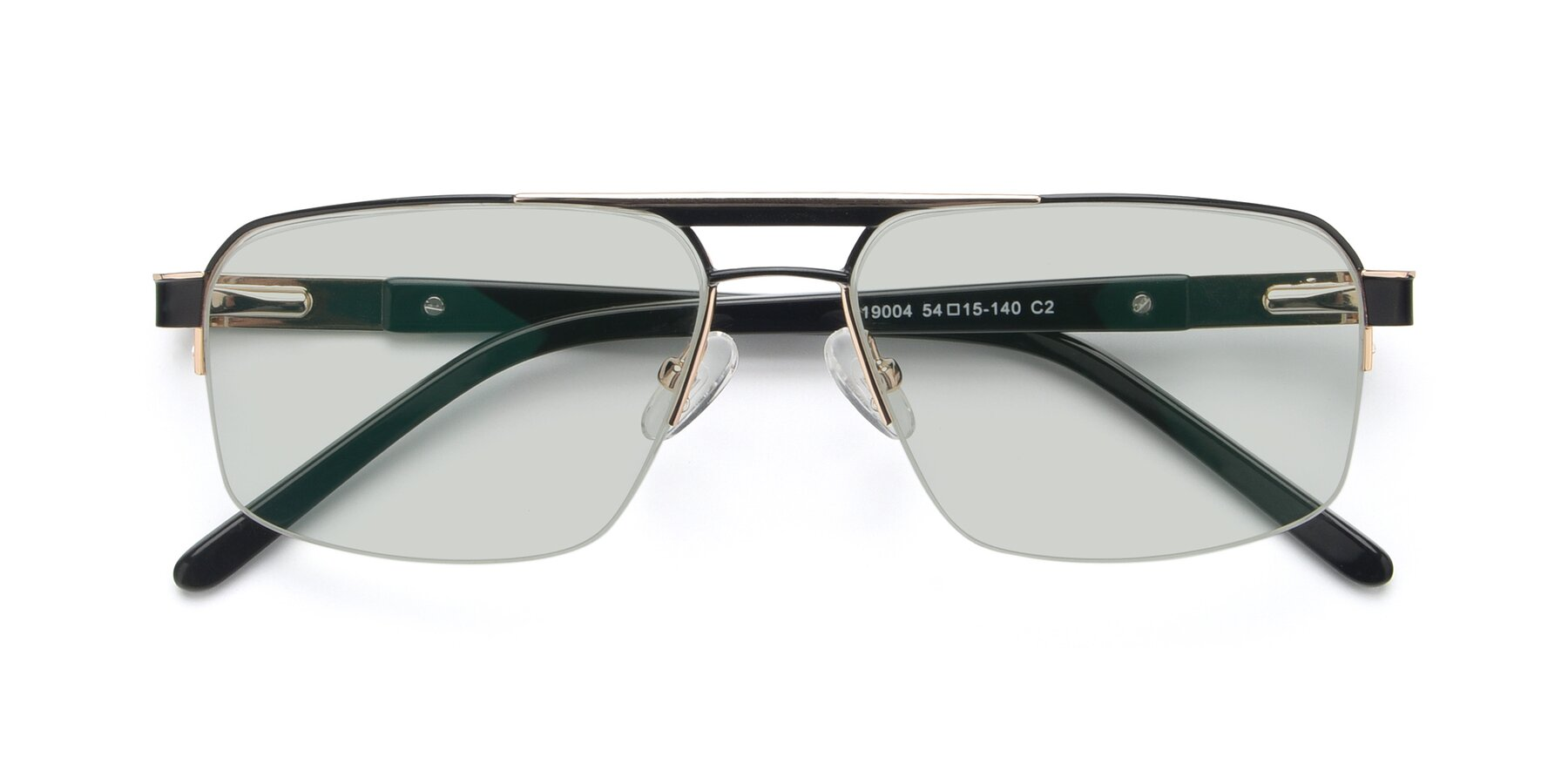 Folded Front of 19004 in Black-Gold with Light Green Tinted Lenses