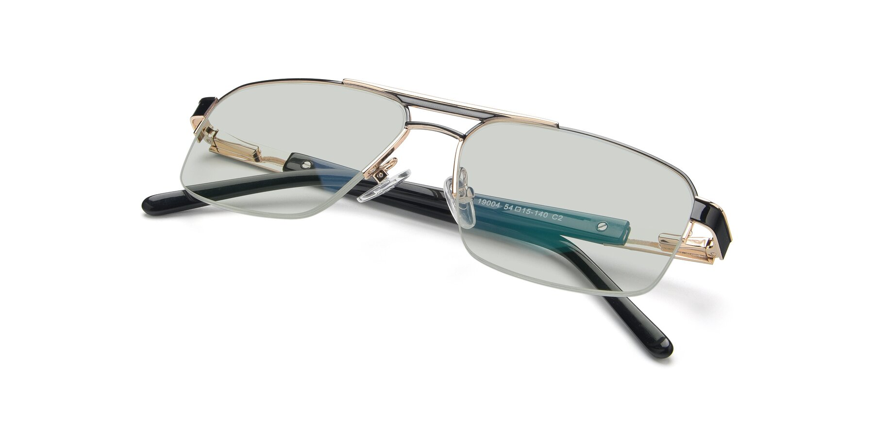 View of 19004 in Black-Gold with Light Green Tinted Lenses