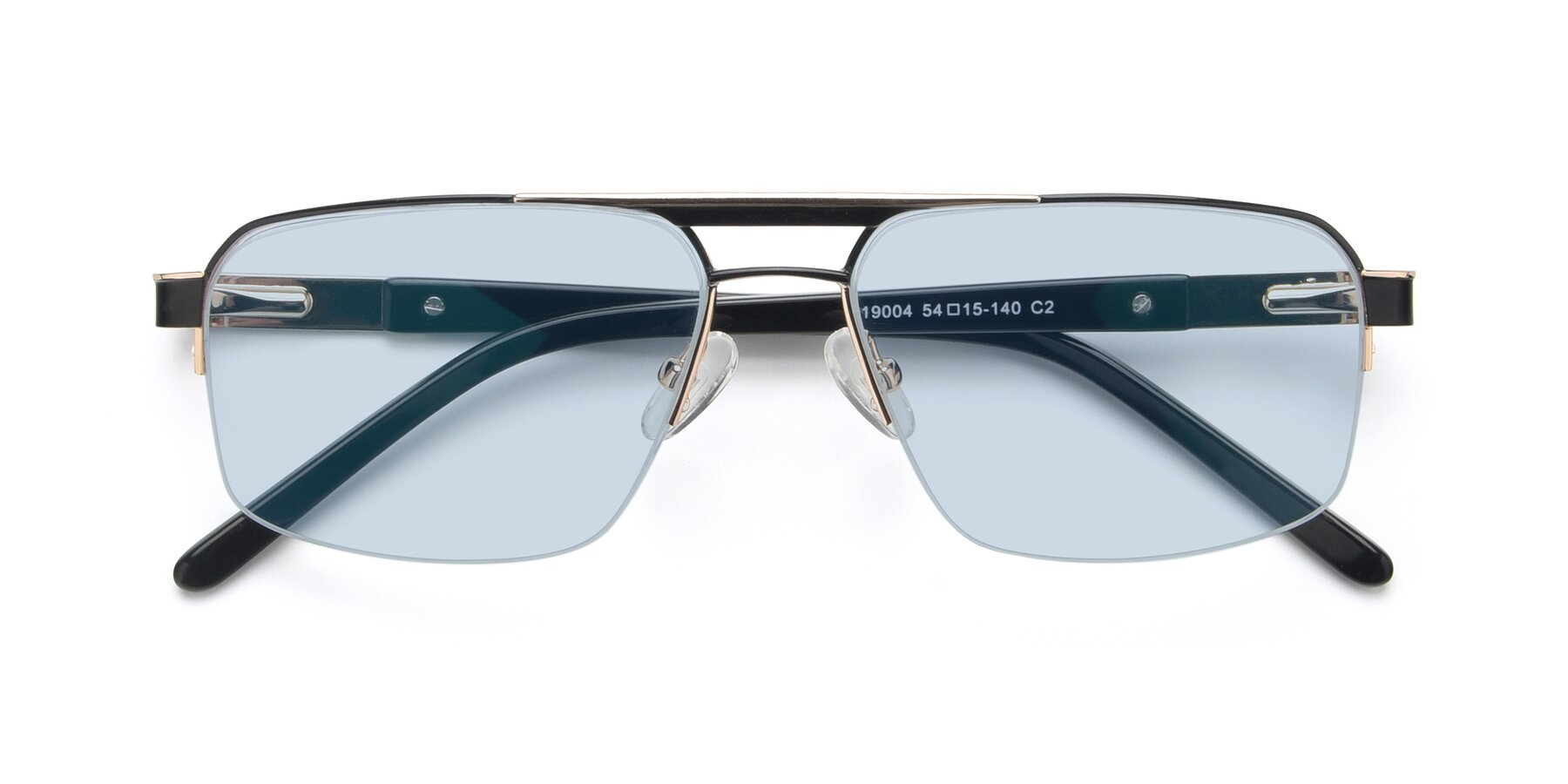 Folded Front of 19004 in Black-Gold with Light Blue Tinted Lenses