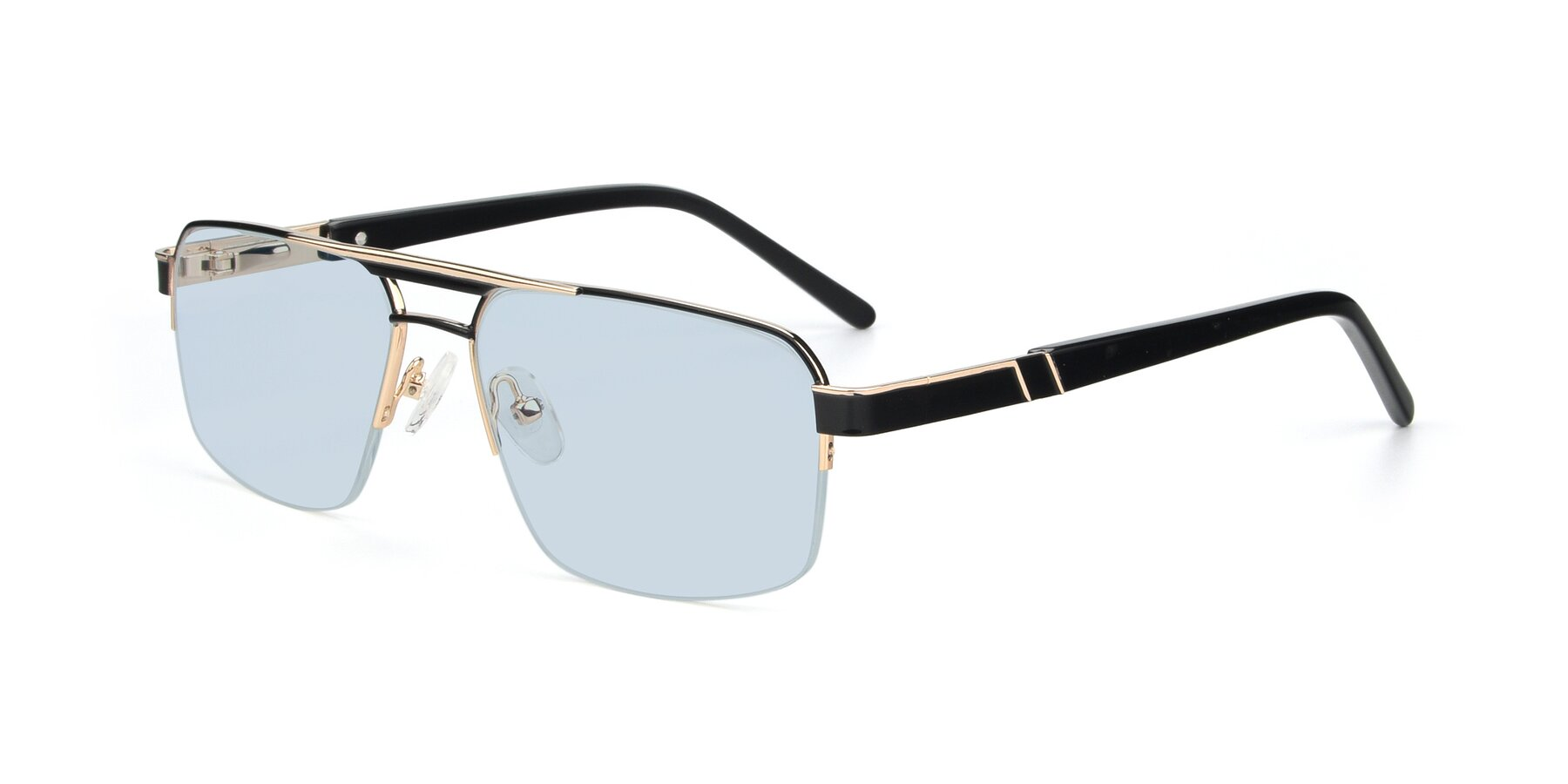 Angle of 19004 in Black-Gold with Light Blue Tinted Lenses