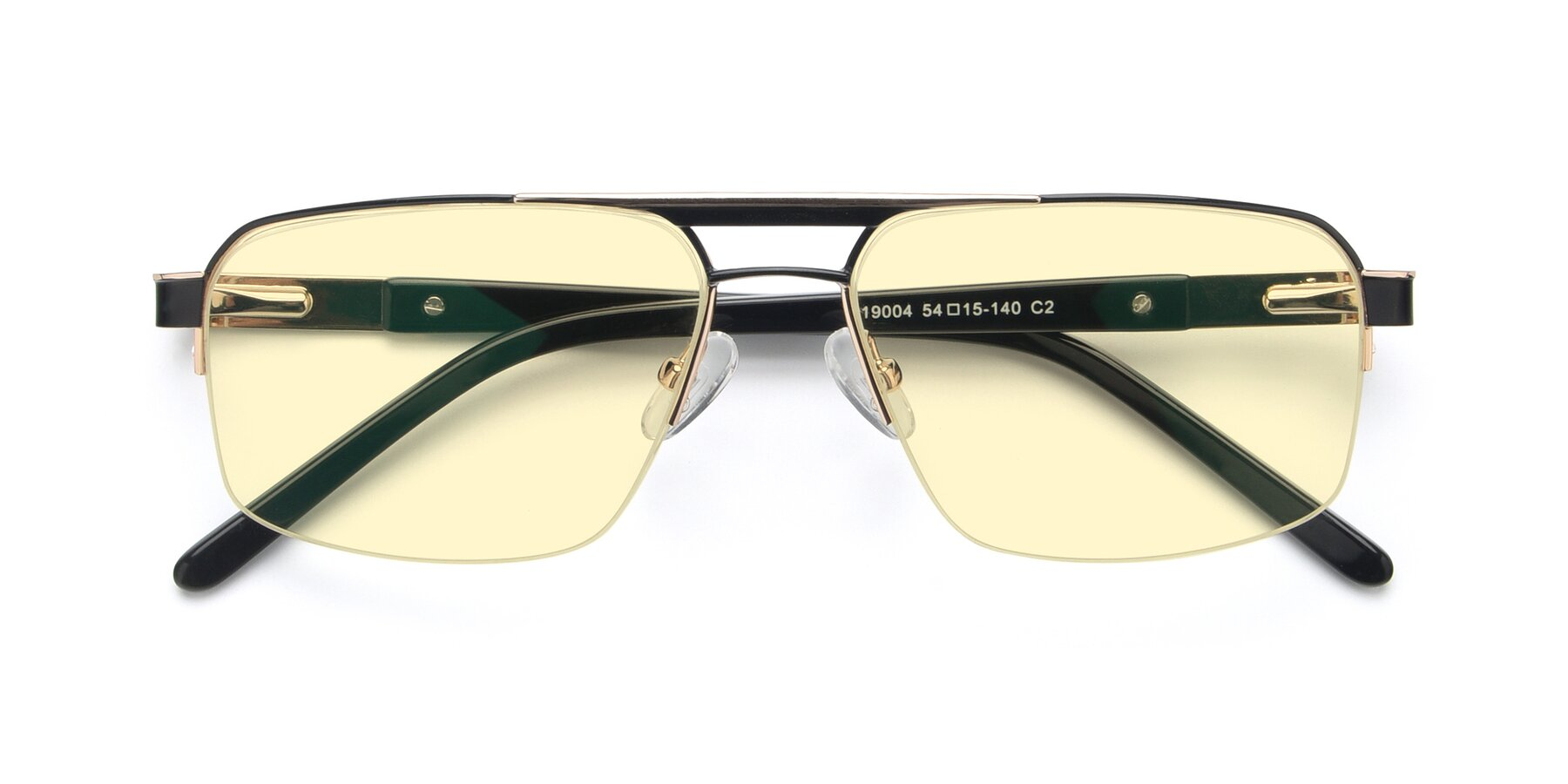Folded Front of 19004 in Black-Gold with Light Yellow Tinted Lenses