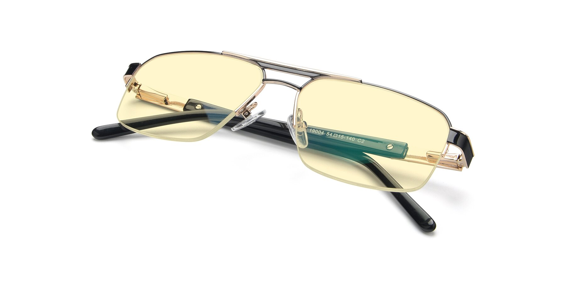 View of 19004 in Black-Gold with Light Yellow Tinted Lenses