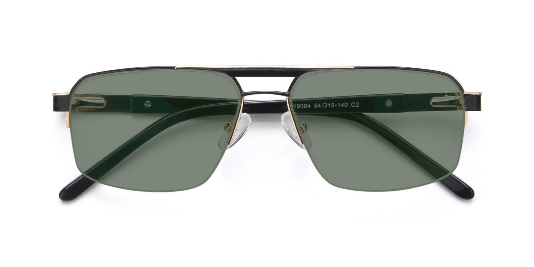 Folded Front of 19004 in Black-Gold with Medium Green Tinted Lenses