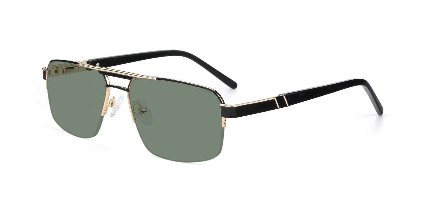 Angle of 19004 in Black-Gold with Medium Green Tinted Lenses