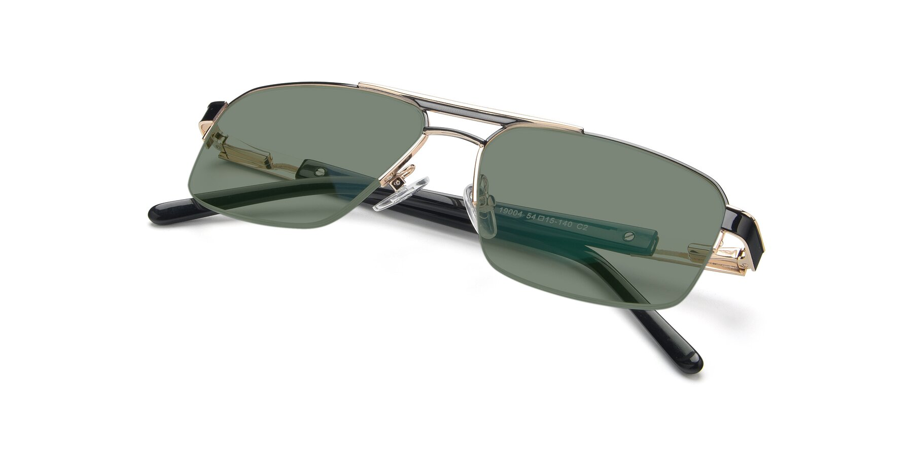 View of 19004 in Black-Gold with Medium Green Tinted Lenses