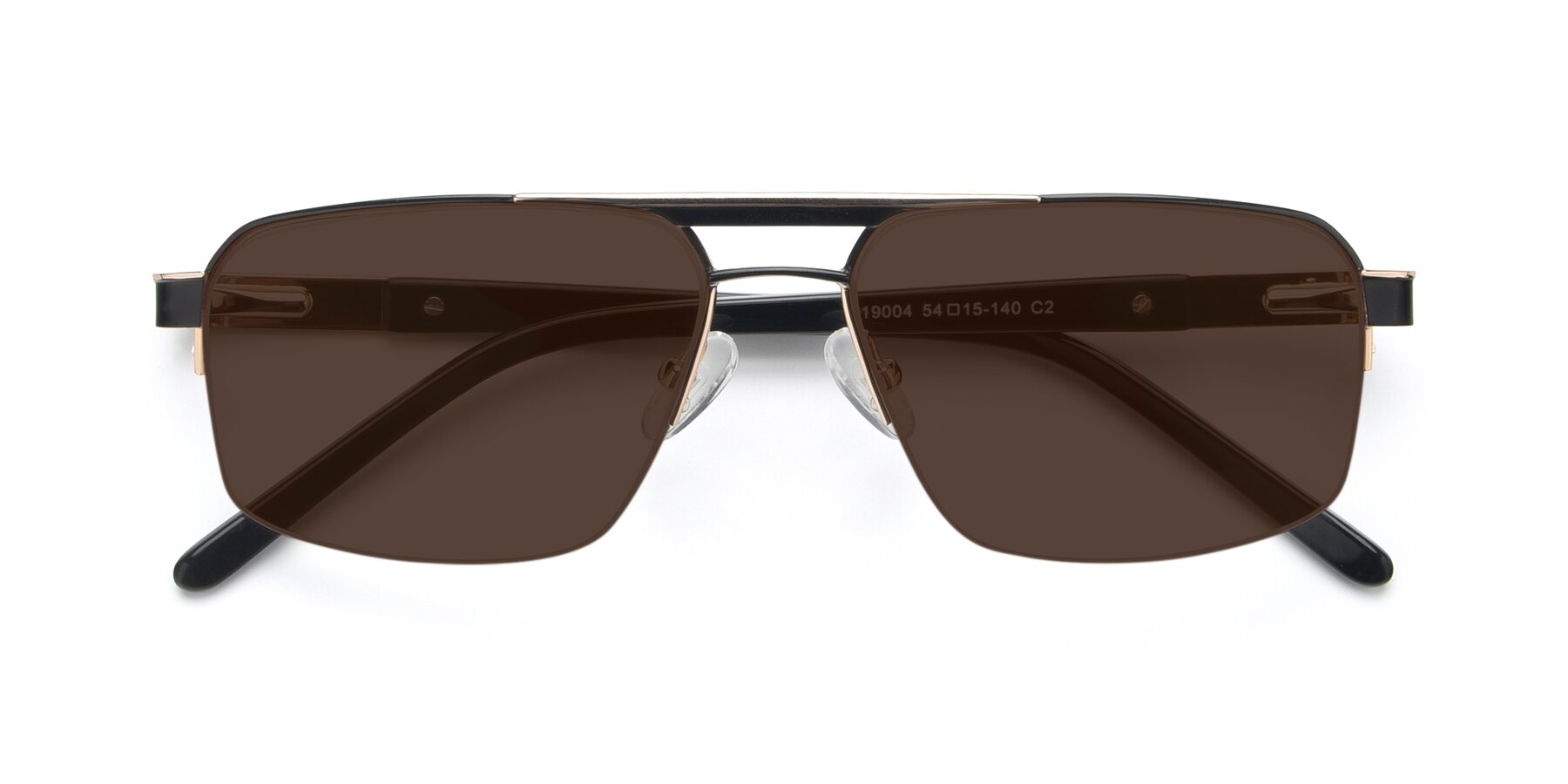 Folded Front of 19004 in Black-Gold with Brown Tinted Lenses