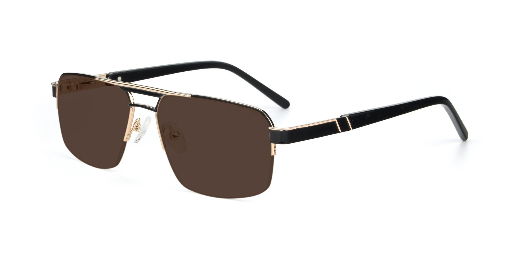 Angle of 19004 in Black-Gold with Brown Tinted Lenses