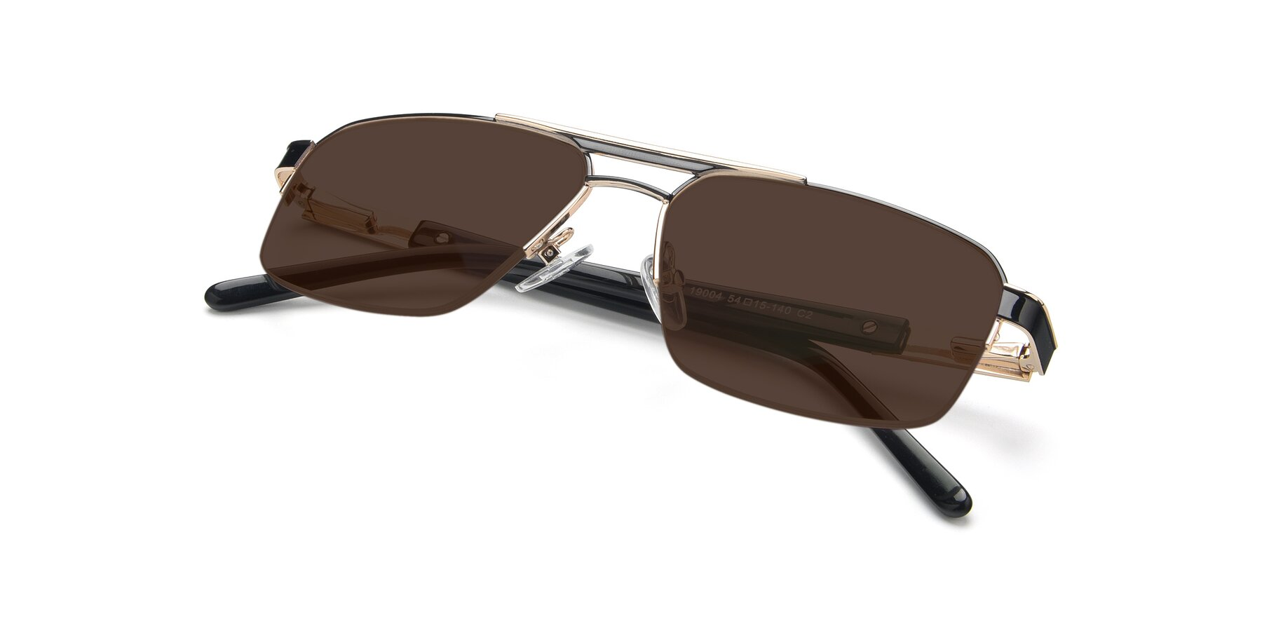 View of 19004 in Black-Gold with Brown Tinted Lenses