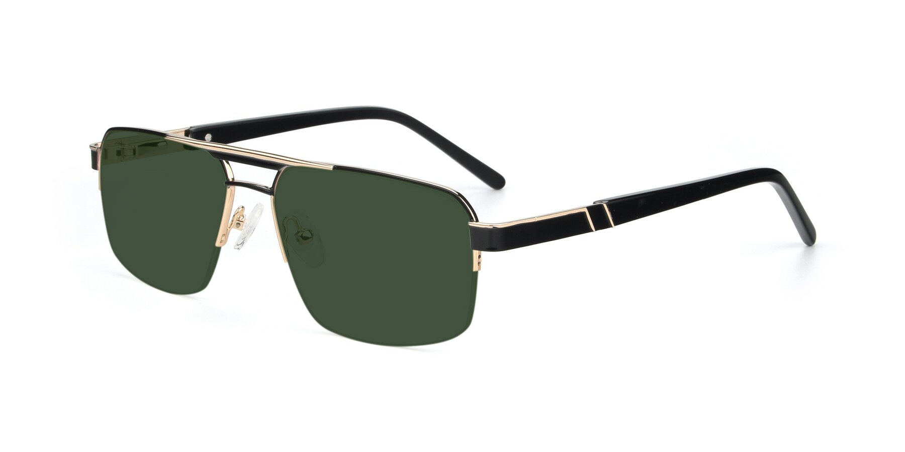 Angle of 19004 in Black-Gold with Green Tinted Lenses