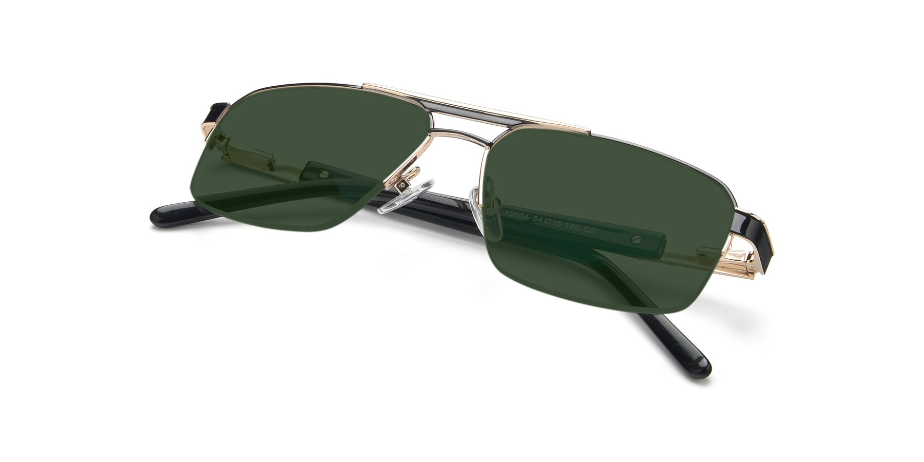 View of 19004 in Black-Gold with Green Tinted Lenses