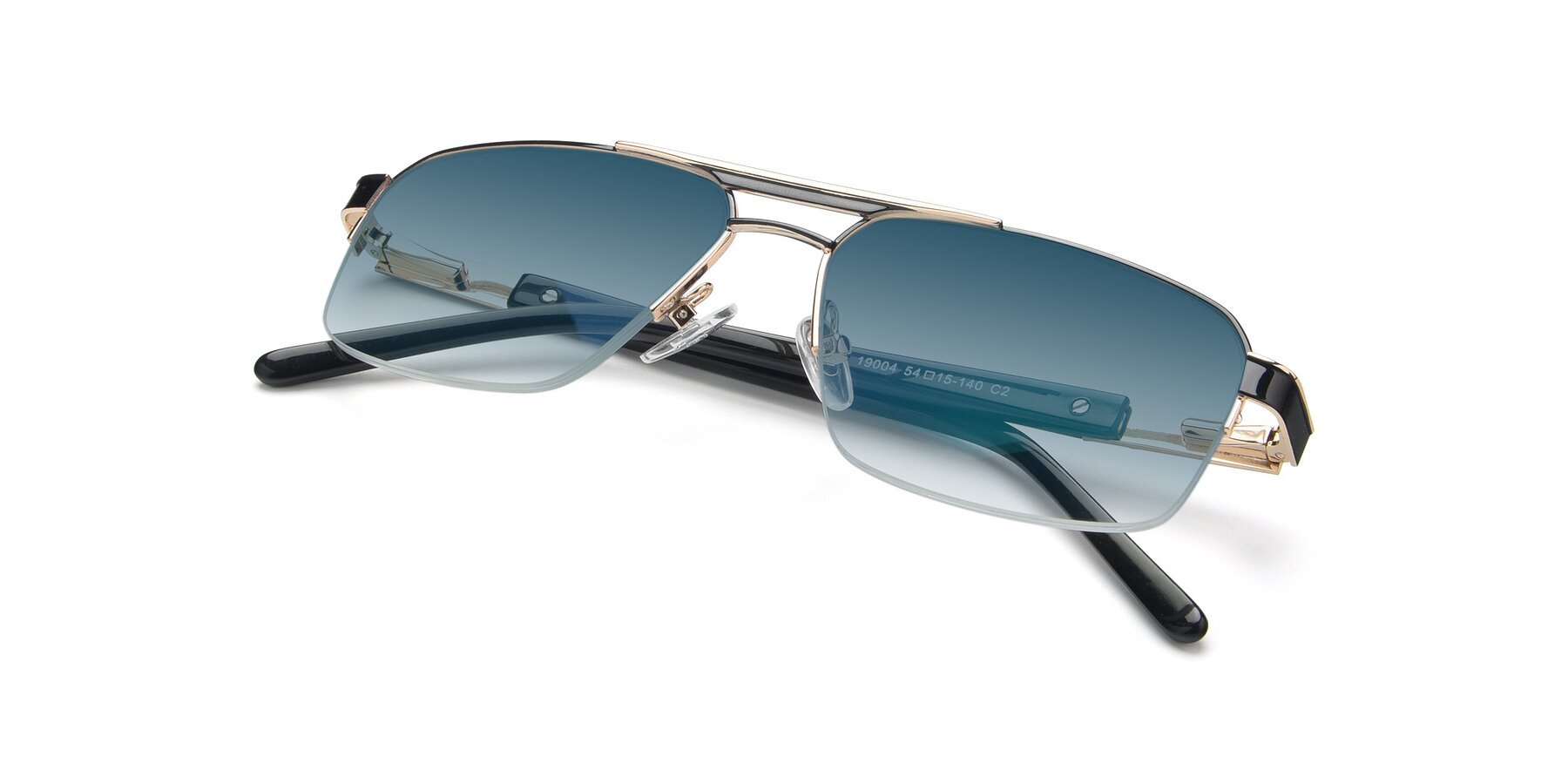 View of 19004 in Black-Gold with Blue Gradient Lenses