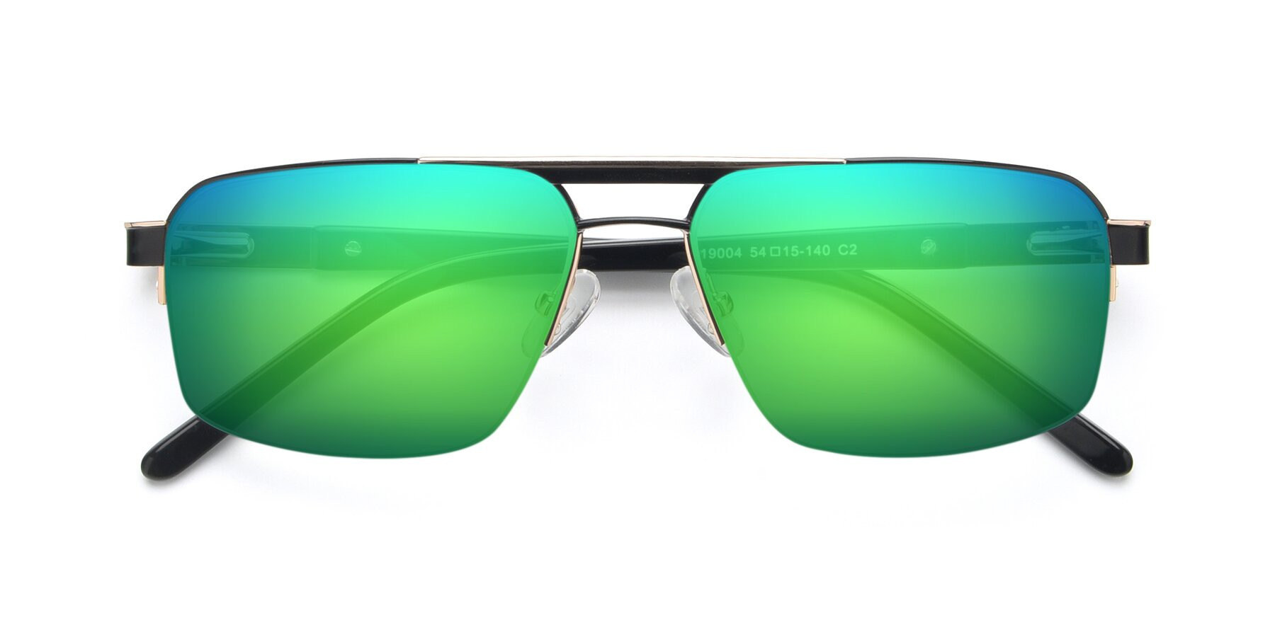Folded Front of 19004 in Black-Gold with Green Mirrored Lenses