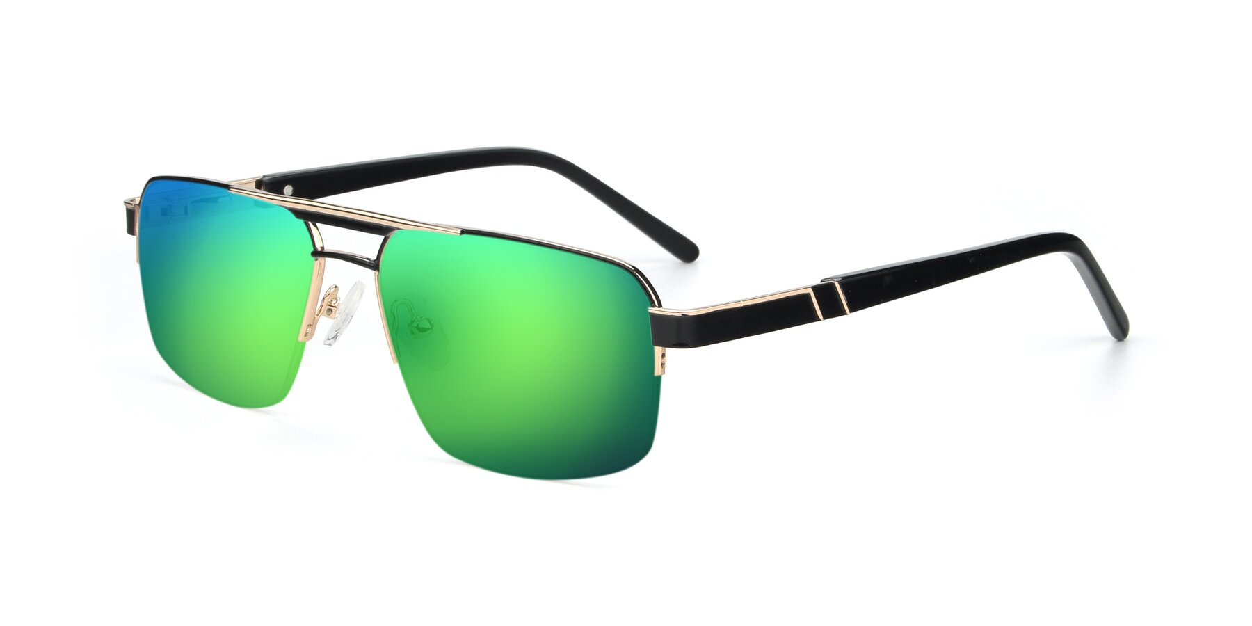 Angle of 19004 in Black-Gold with Green Mirrored Lenses
