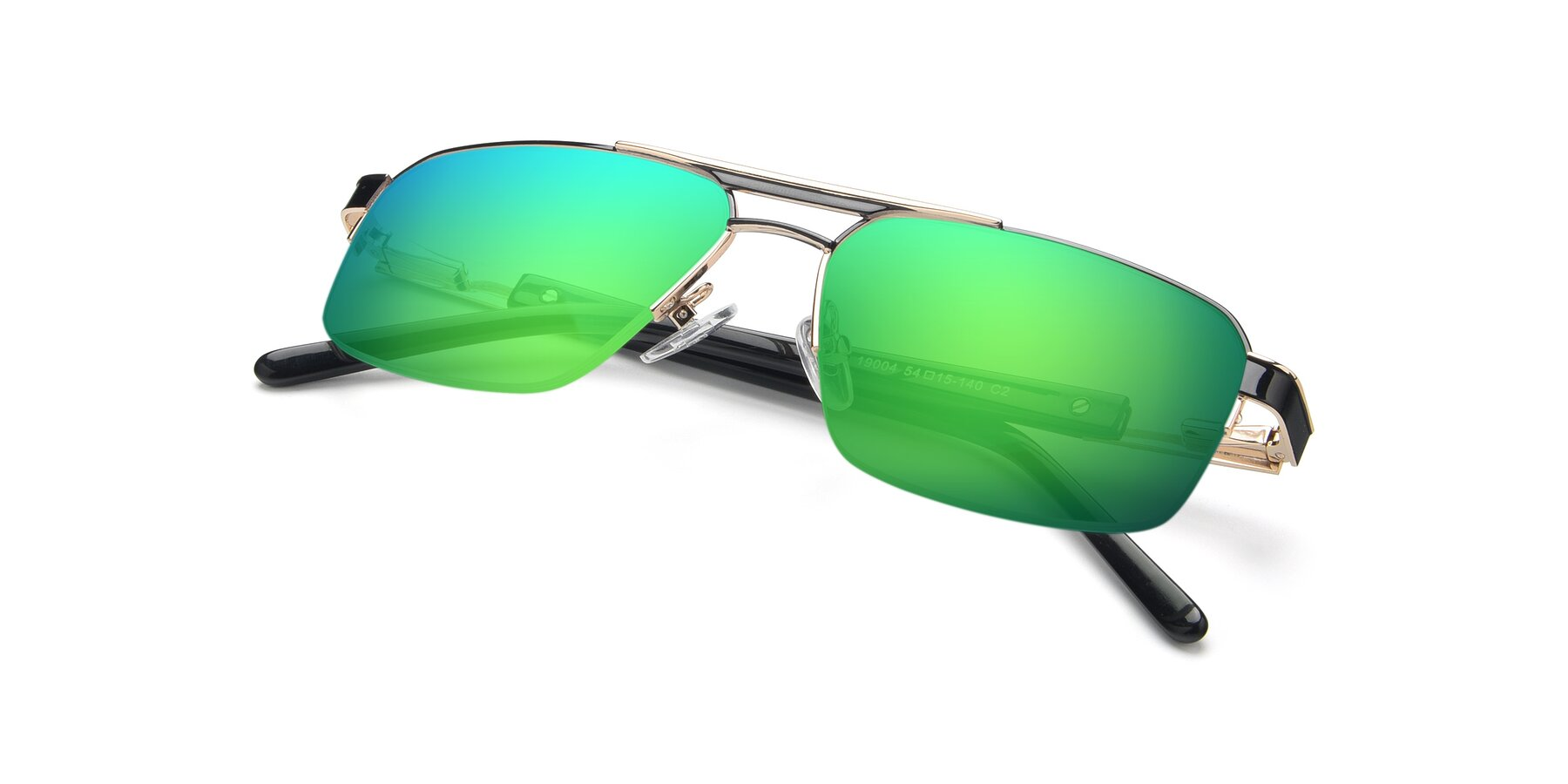 View of 19004 in Black-Gold with Green Mirrored Lenses