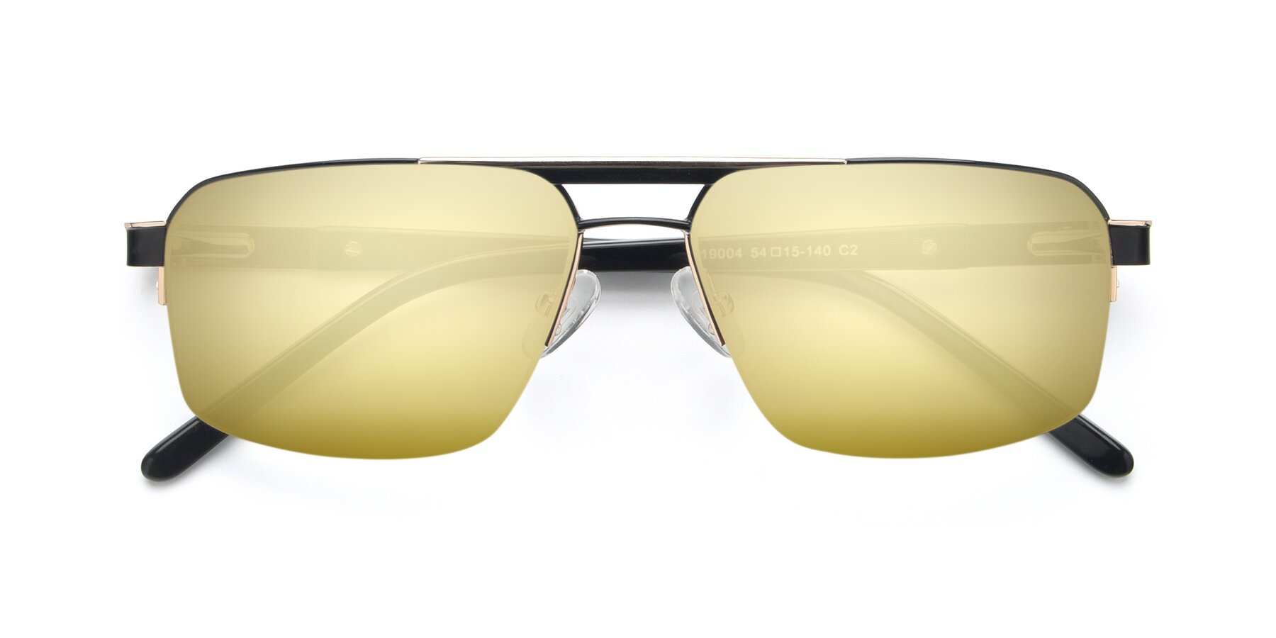 Folded Front of 19004 in Black-Gold with Gold Mirrored Lenses
