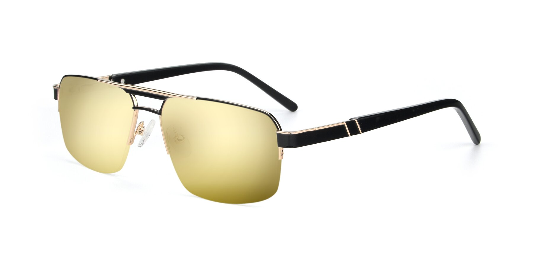 Angle of 19004 in Black-Gold with Gold Mirrored Lenses