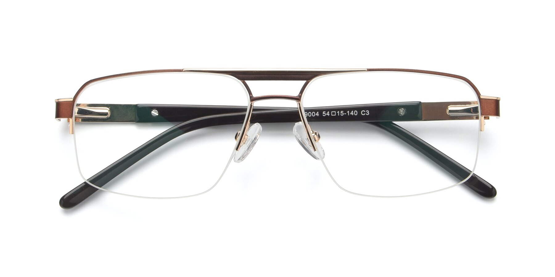 Folded Front of 19004 in Bronze-Gold with Clear Blue Light Blocking Lenses