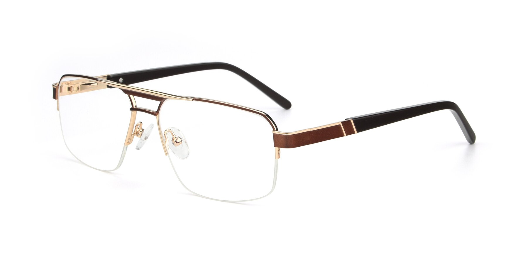Angle of 19004 in Bronze-Gold with Clear Blue Light Blocking Lenses