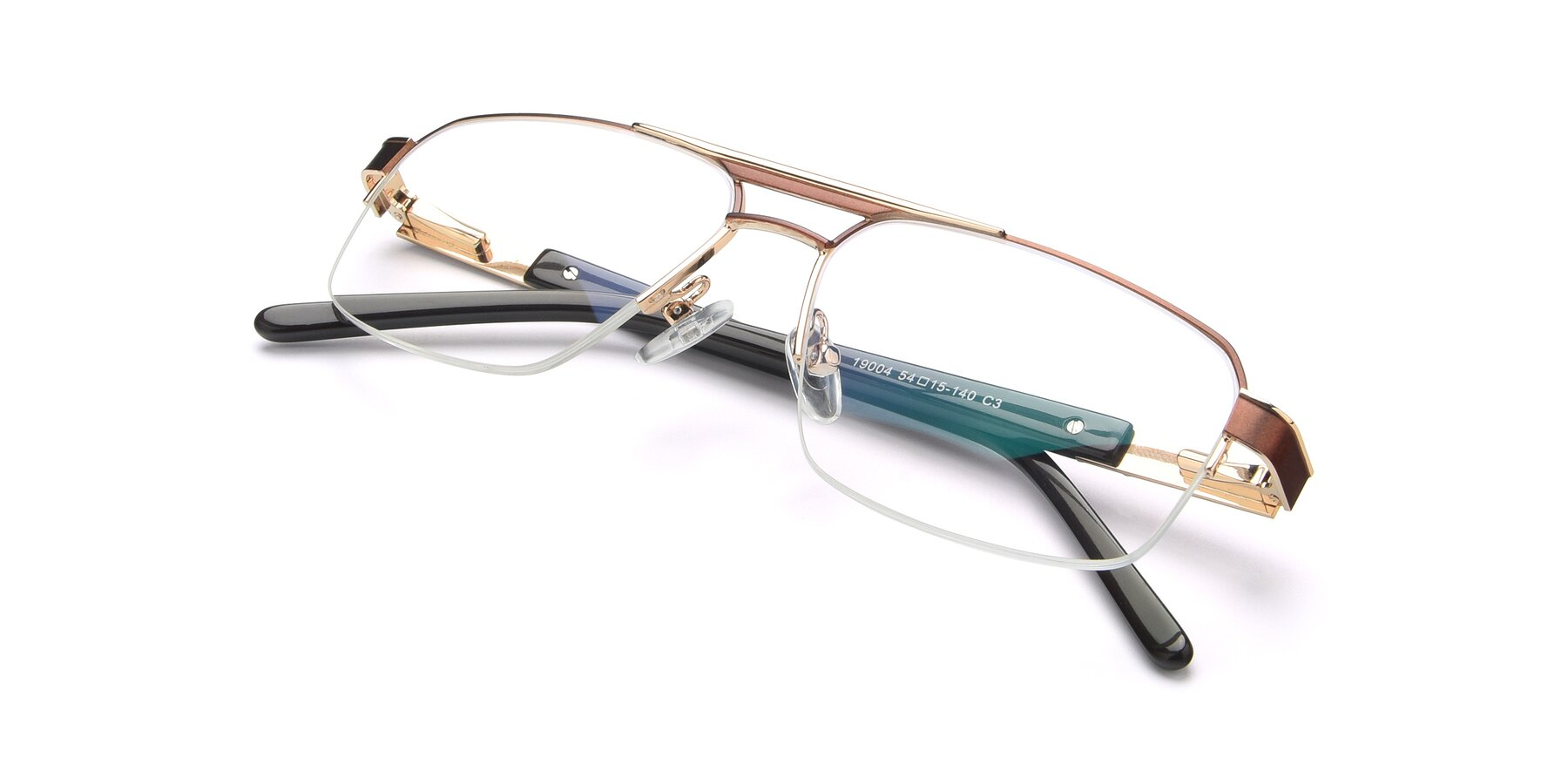 View of 19004 in Bronze-Gold with Clear Blue Light Blocking Lenses