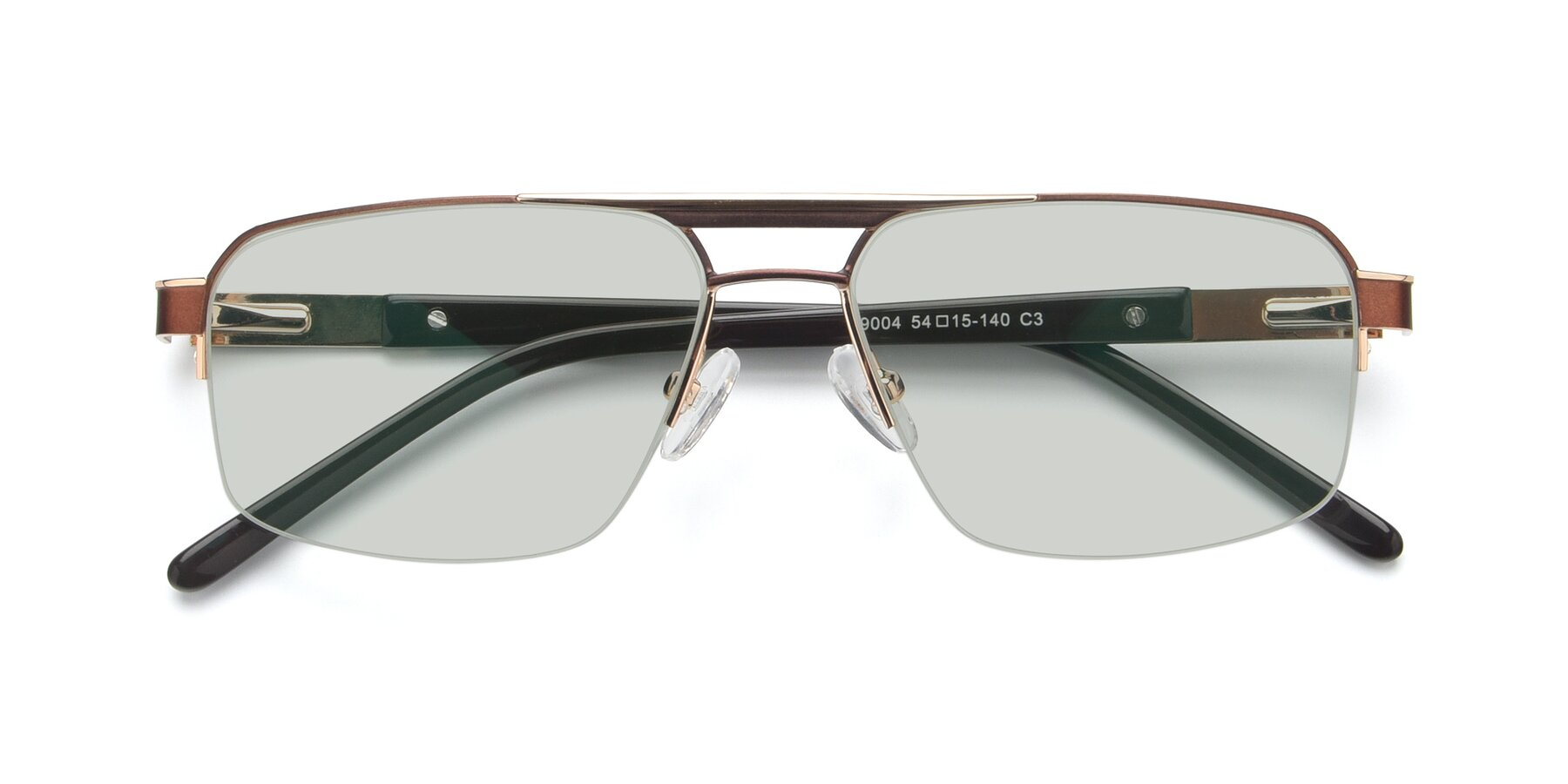 Folded Front of 19004 in Bronze-Gold with Light Green Tinted Lenses