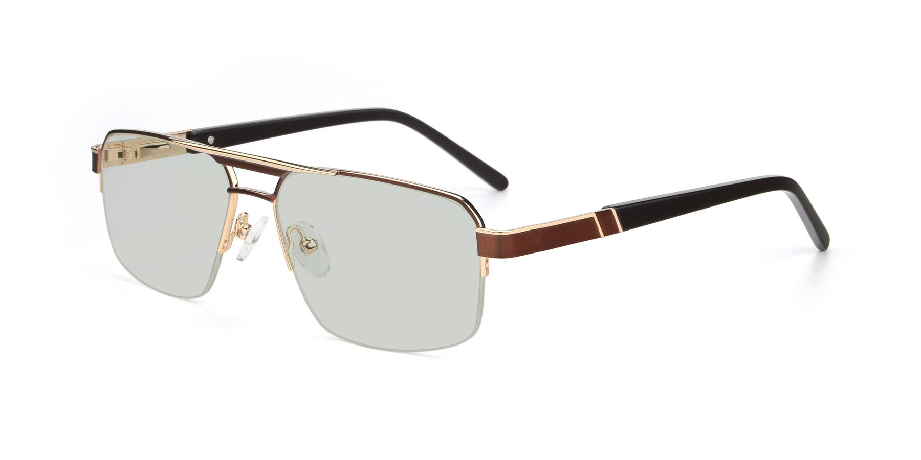Angle of 19004 in Bronze-Gold with Light Green Tinted Lenses
