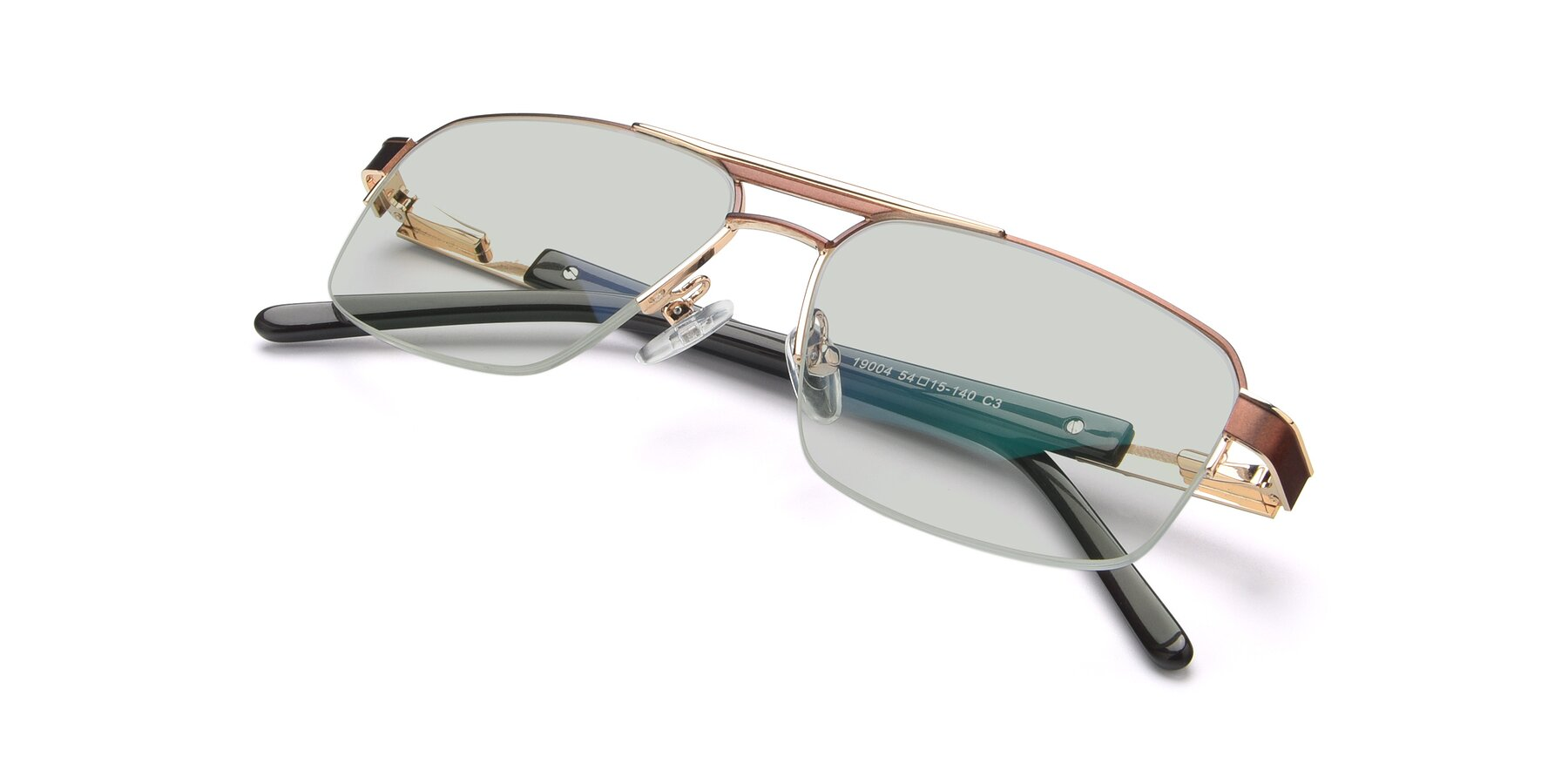 View of 19004 in Bronze-Gold with Light Green Tinted Lenses