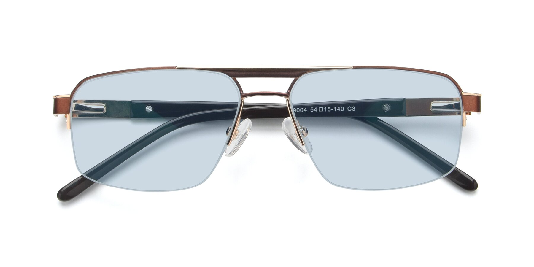 Folded Front of 19004 in Bronze-Gold with Light Blue Tinted Lenses