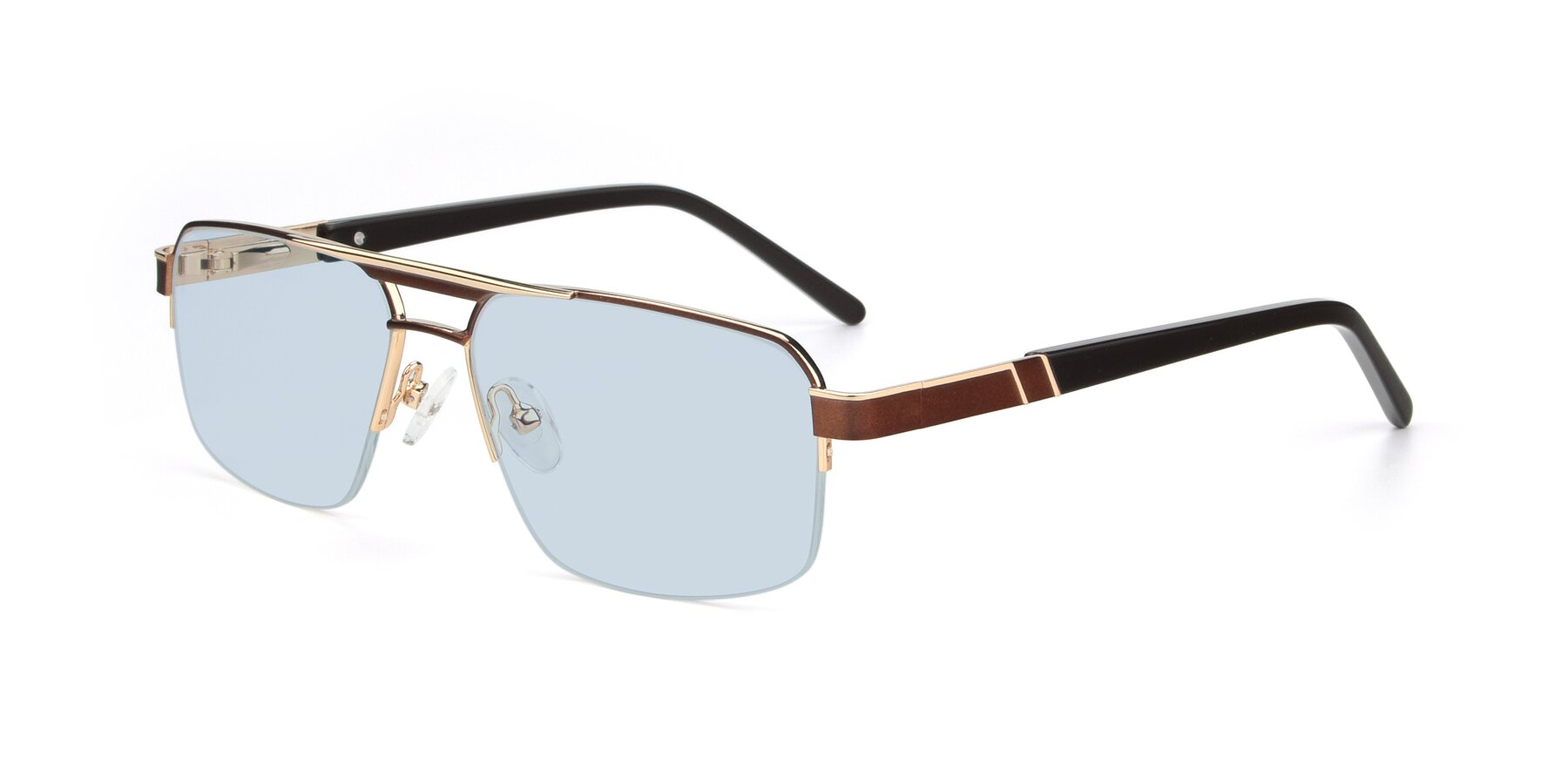 Angle of 19004 in Bronze-Gold with Light Blue Tinted Lenses