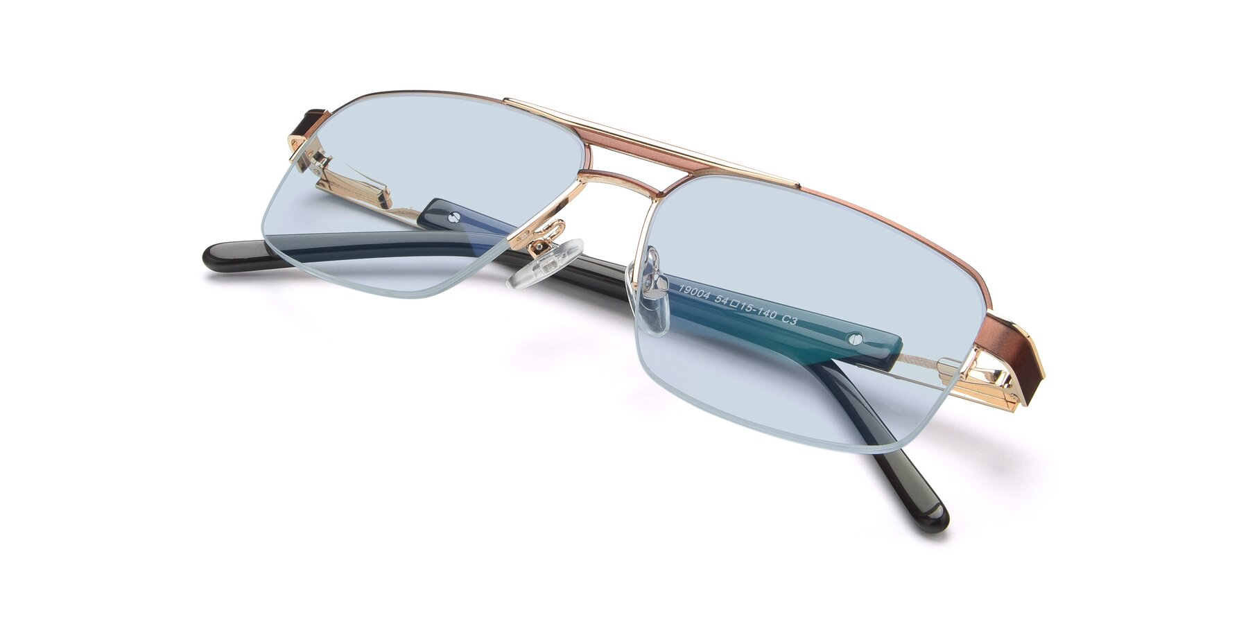 View of 19004 in Bronze-Gold with Light Blue Tinted Lenses