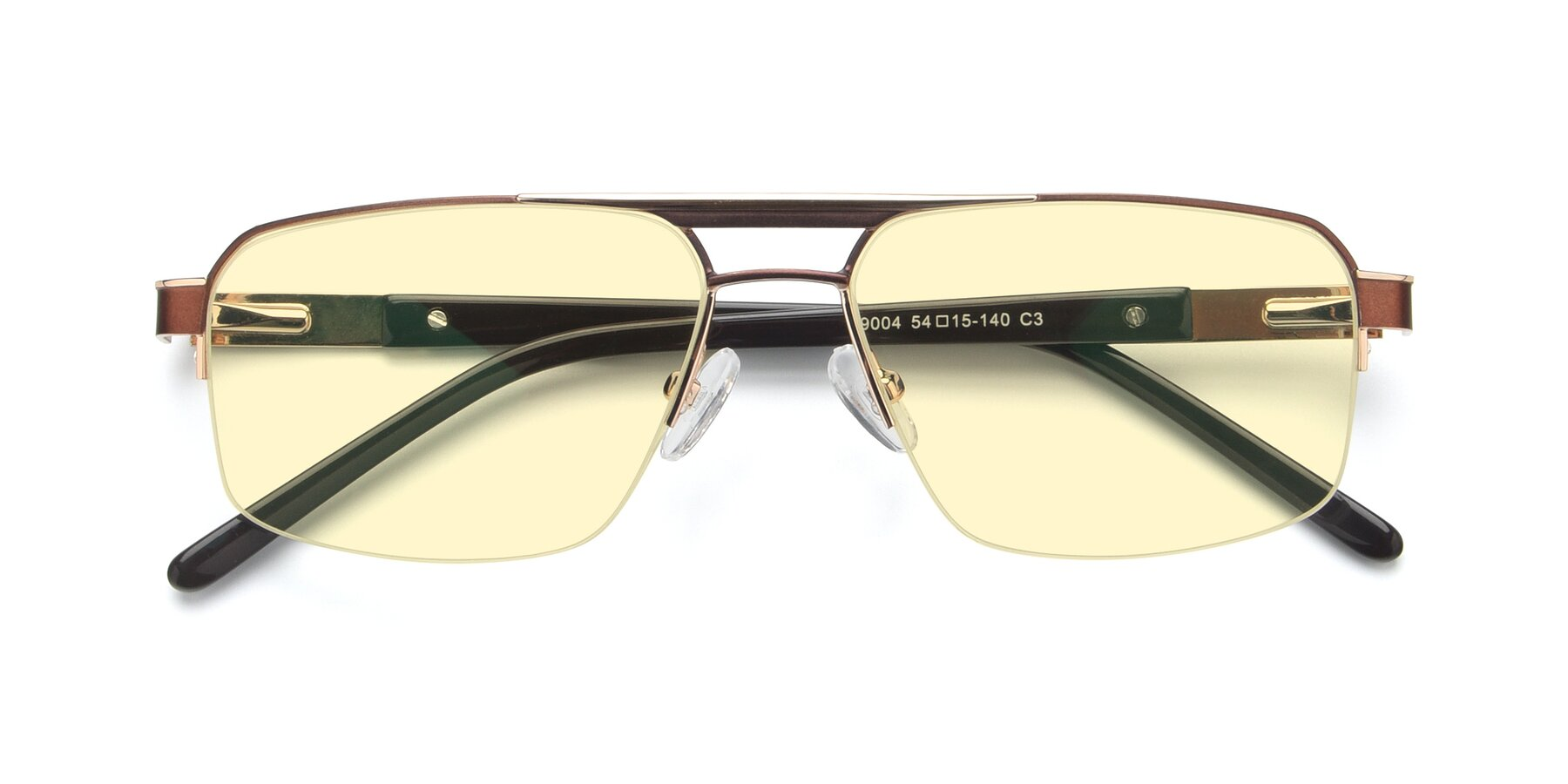 Folded Front of 19004 in Bronze-Gold with Light Yellow Tinted Lenses