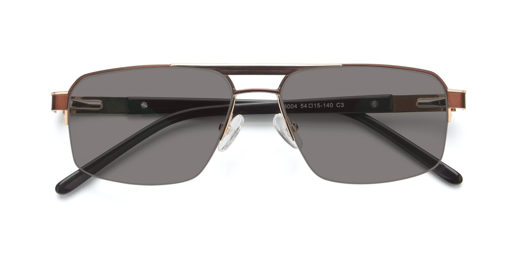 Folded Front of 19004 in Bronze-Gold with Medium Gray Tinted Lenses