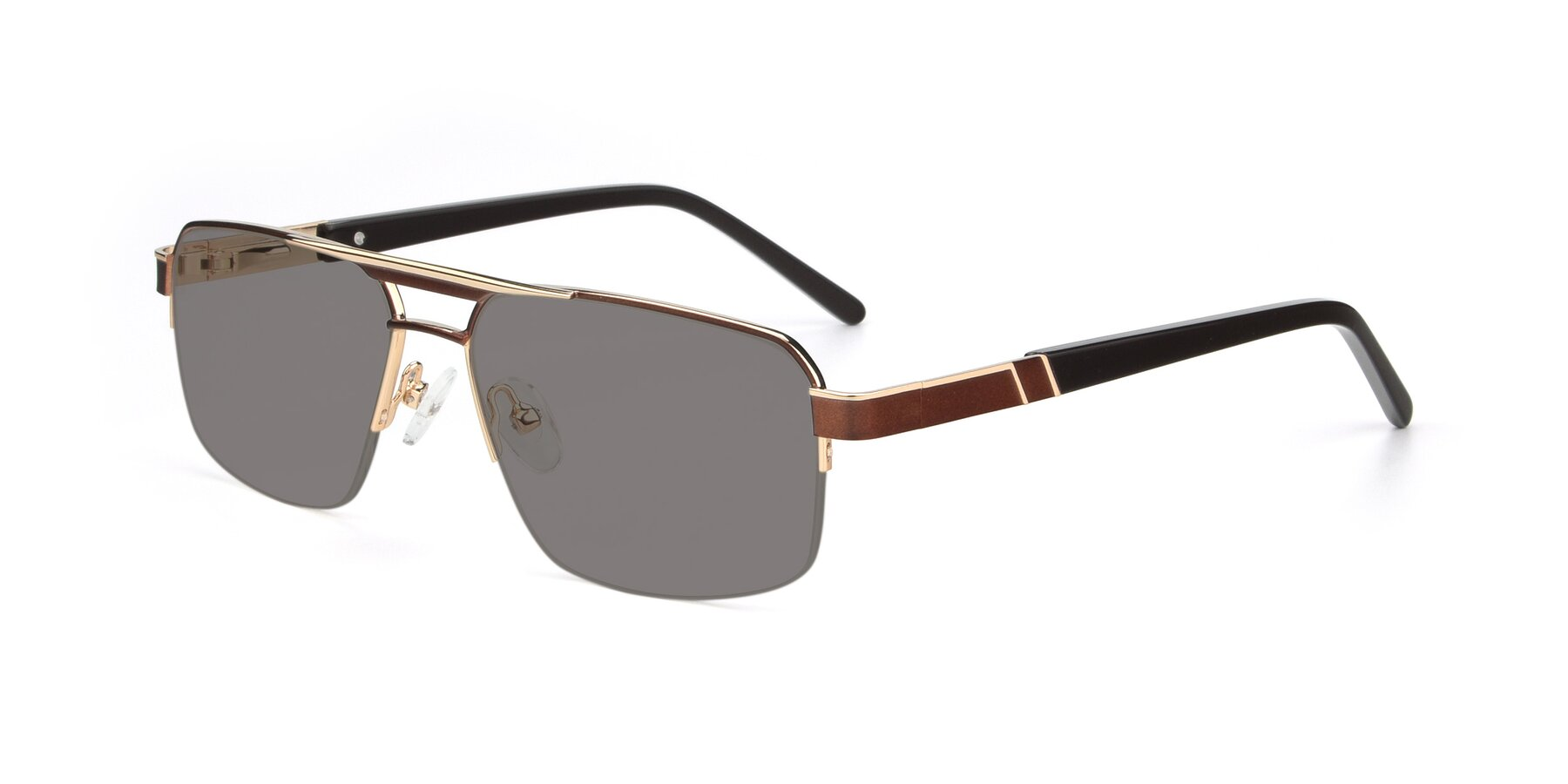 Angle of 19004 in Bronze-Gold with Medium Gray Tinted Lenses