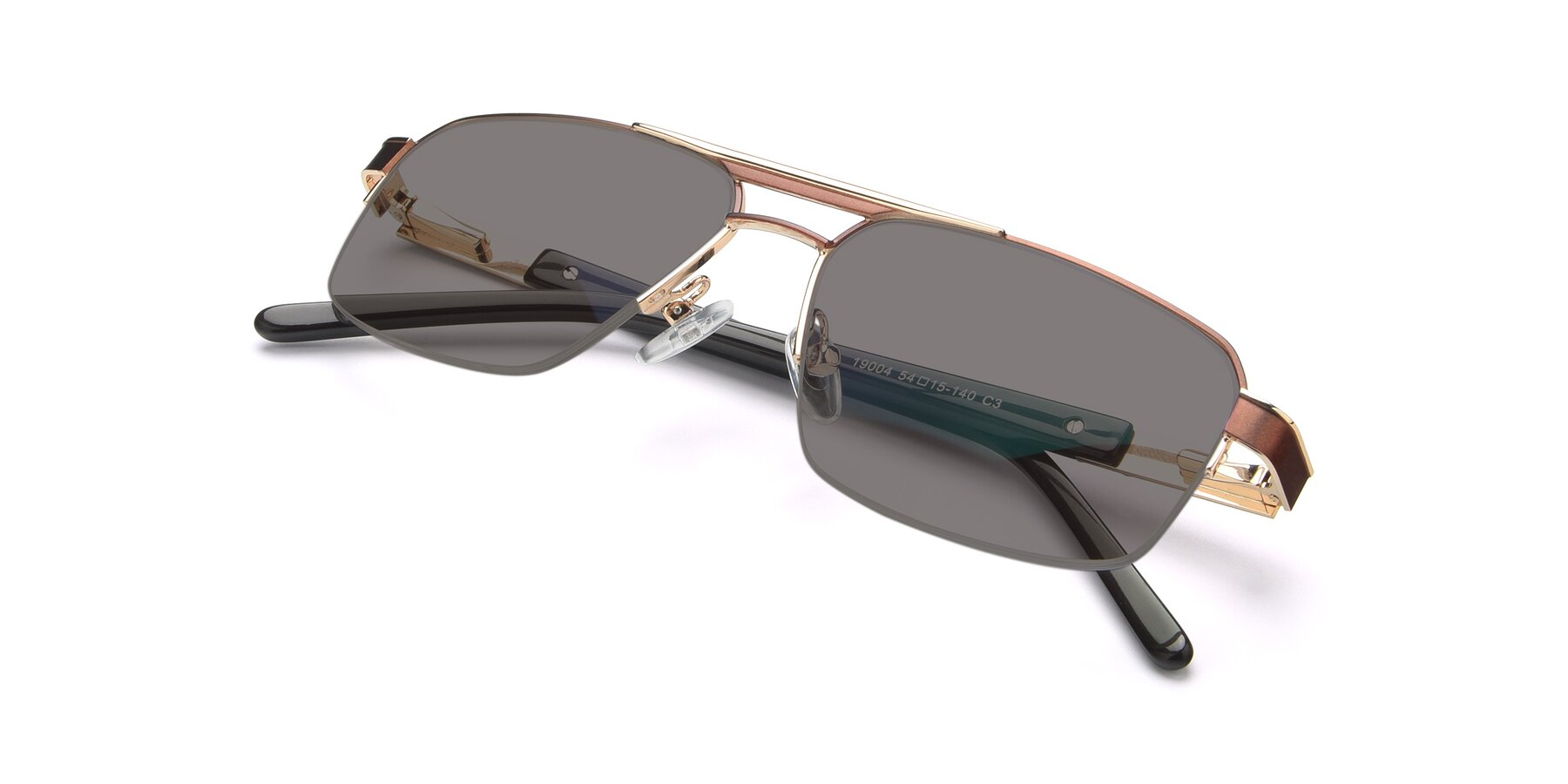 View of 19004 in Bronze-Gold with Medium Gray Tinted Lenses