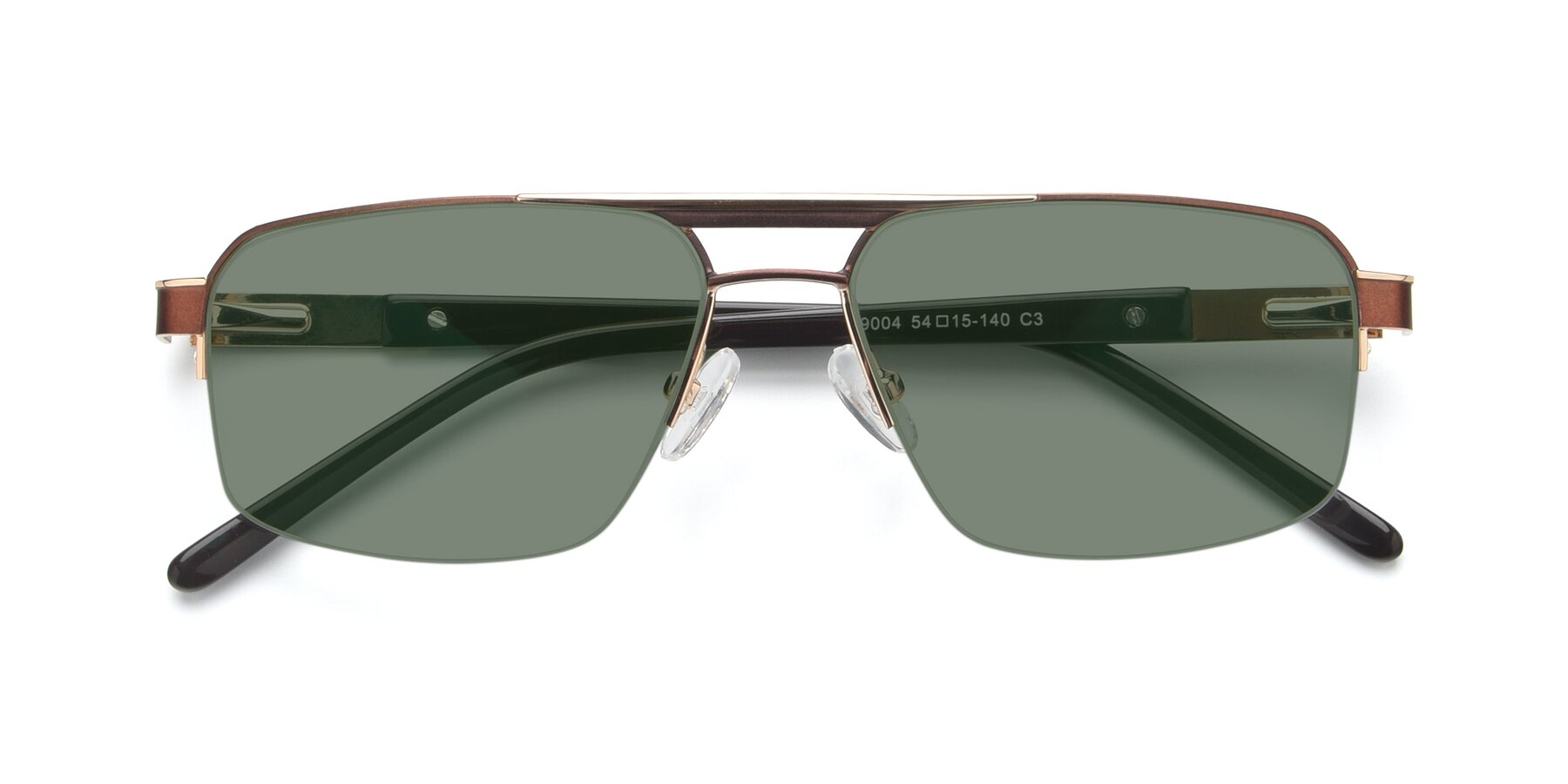 Folded Front of 19004 in Bronze-Gold with Medium Green Tinted Lenses