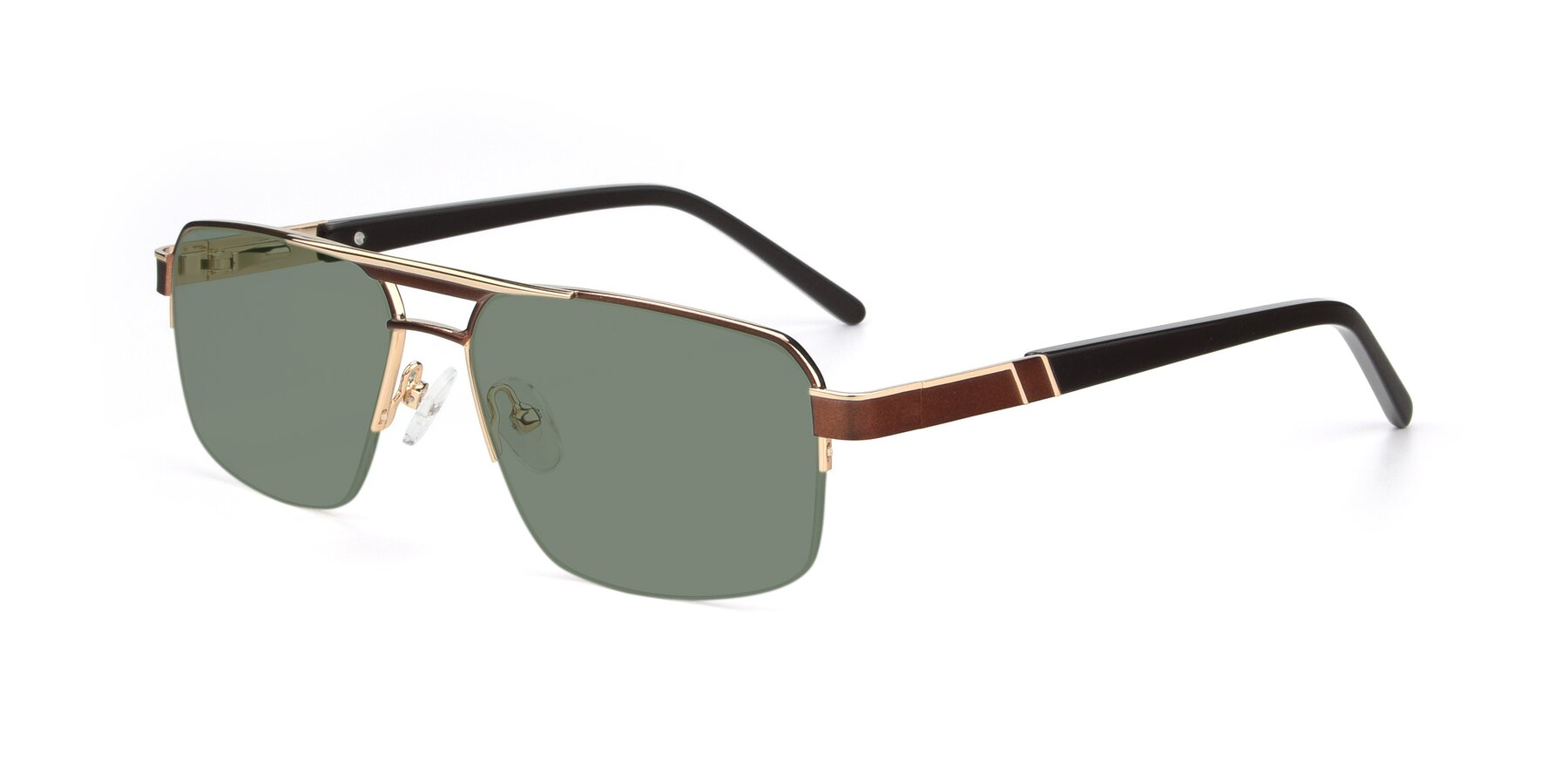 Angle of 19004 in Bronze-Gold with Medium Green Tinted Lenses