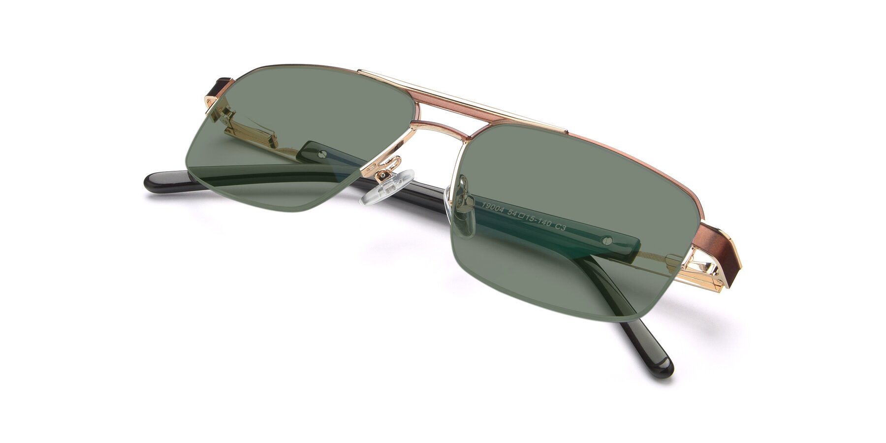 View of 19004 in Bronze-Gold with Medium Green Tinted Lenses