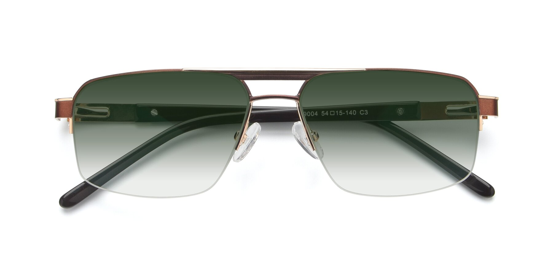 Folded Front of 19004 in Bronze-Gold with Green Gradient Lenses
