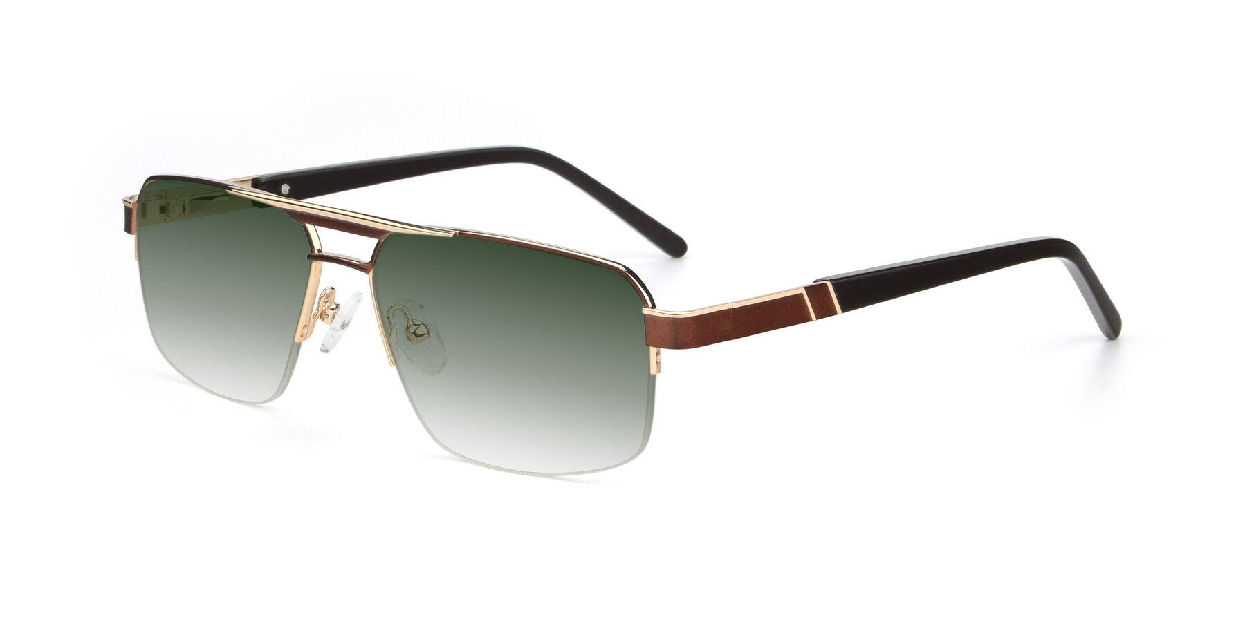 Angle of 19004 in Bronze-Gold with Green Gradient Lenses