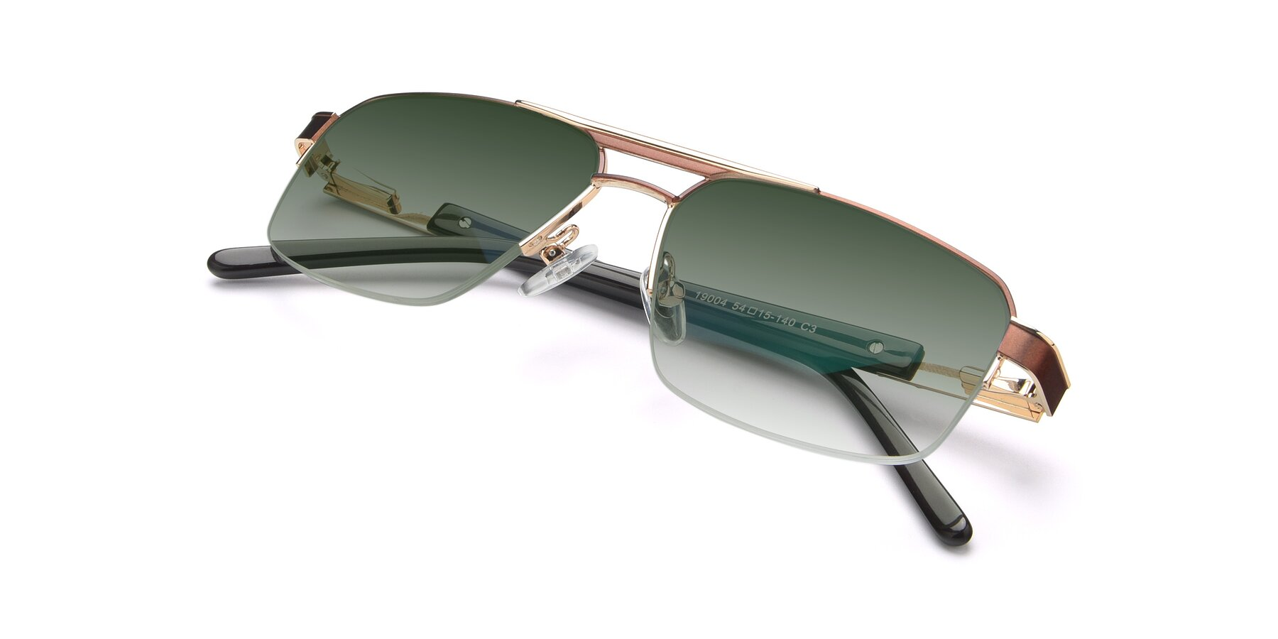 View of 19004 in Bronze-Gold with Green Gradient Lenses