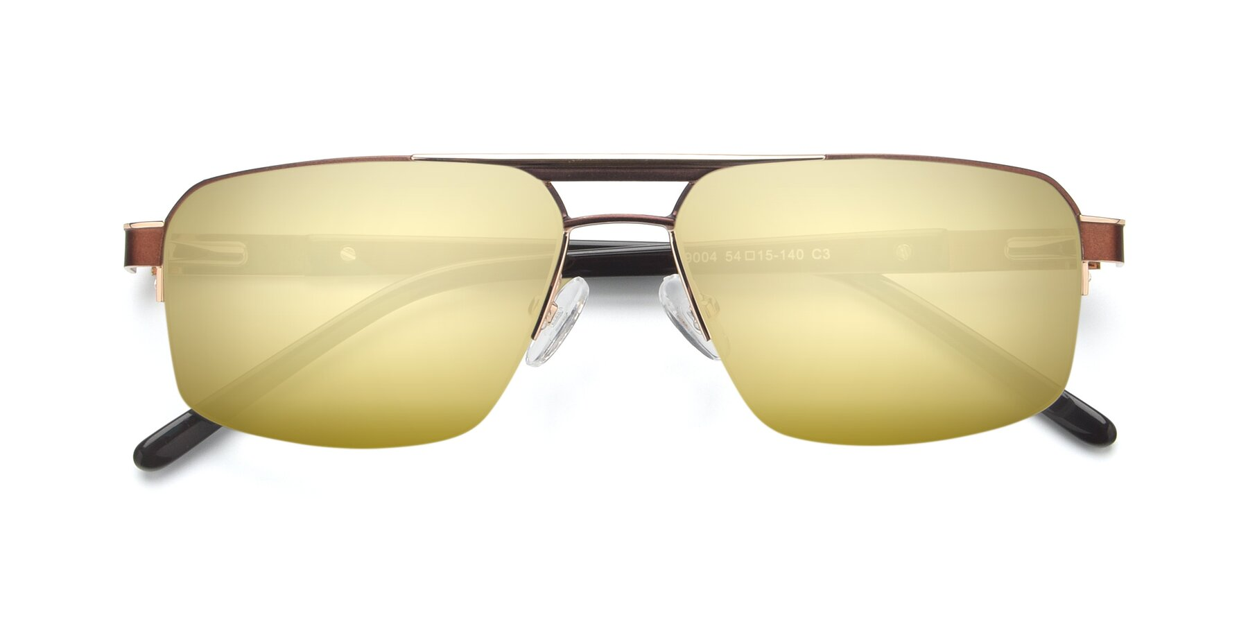 Folded Front of 19004 in Bronze-Gold with Gold Mirrored Lenses