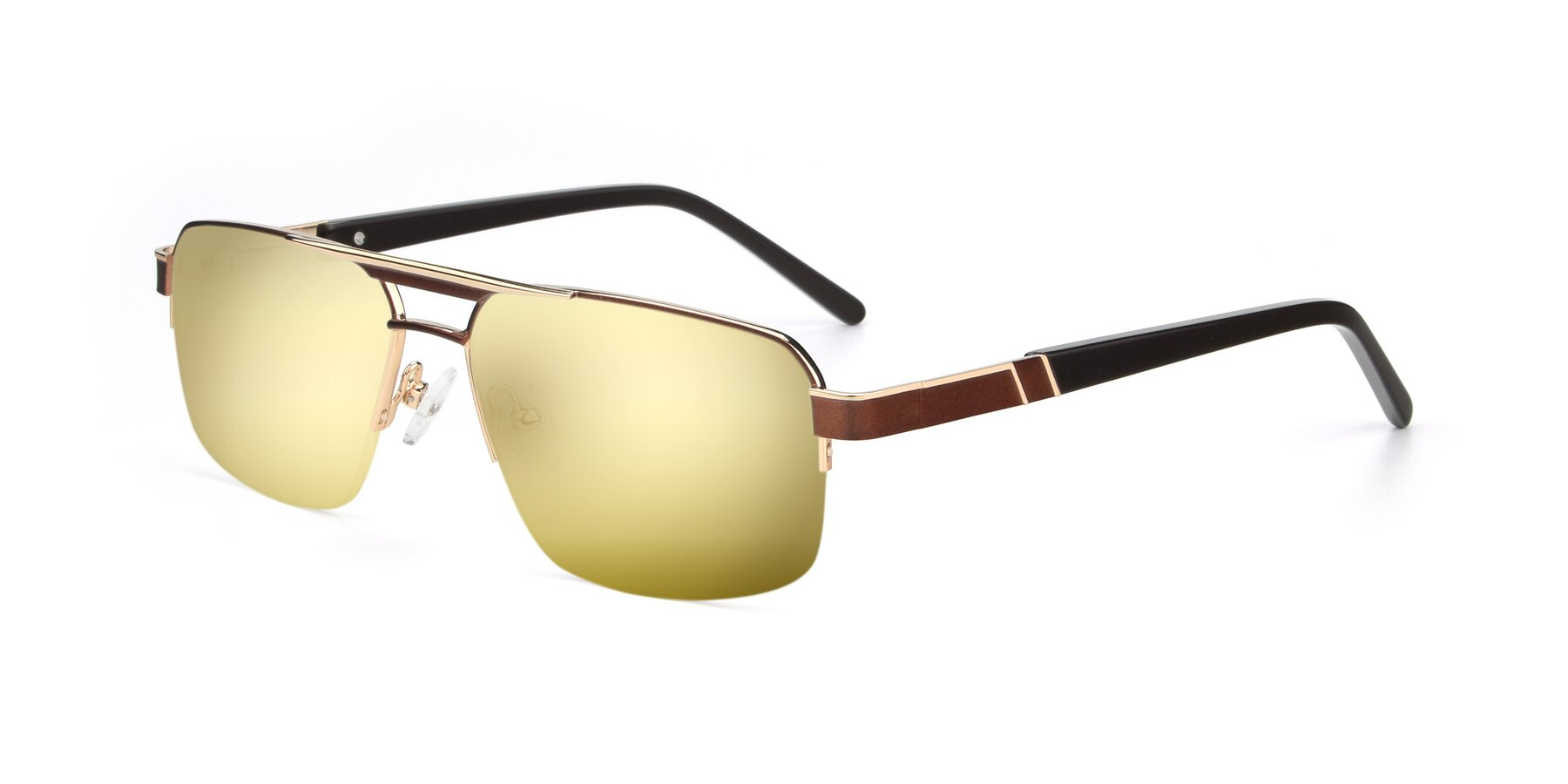 Angle of 19004 in Bronze-Gold with Gold Mirrored Lenses
