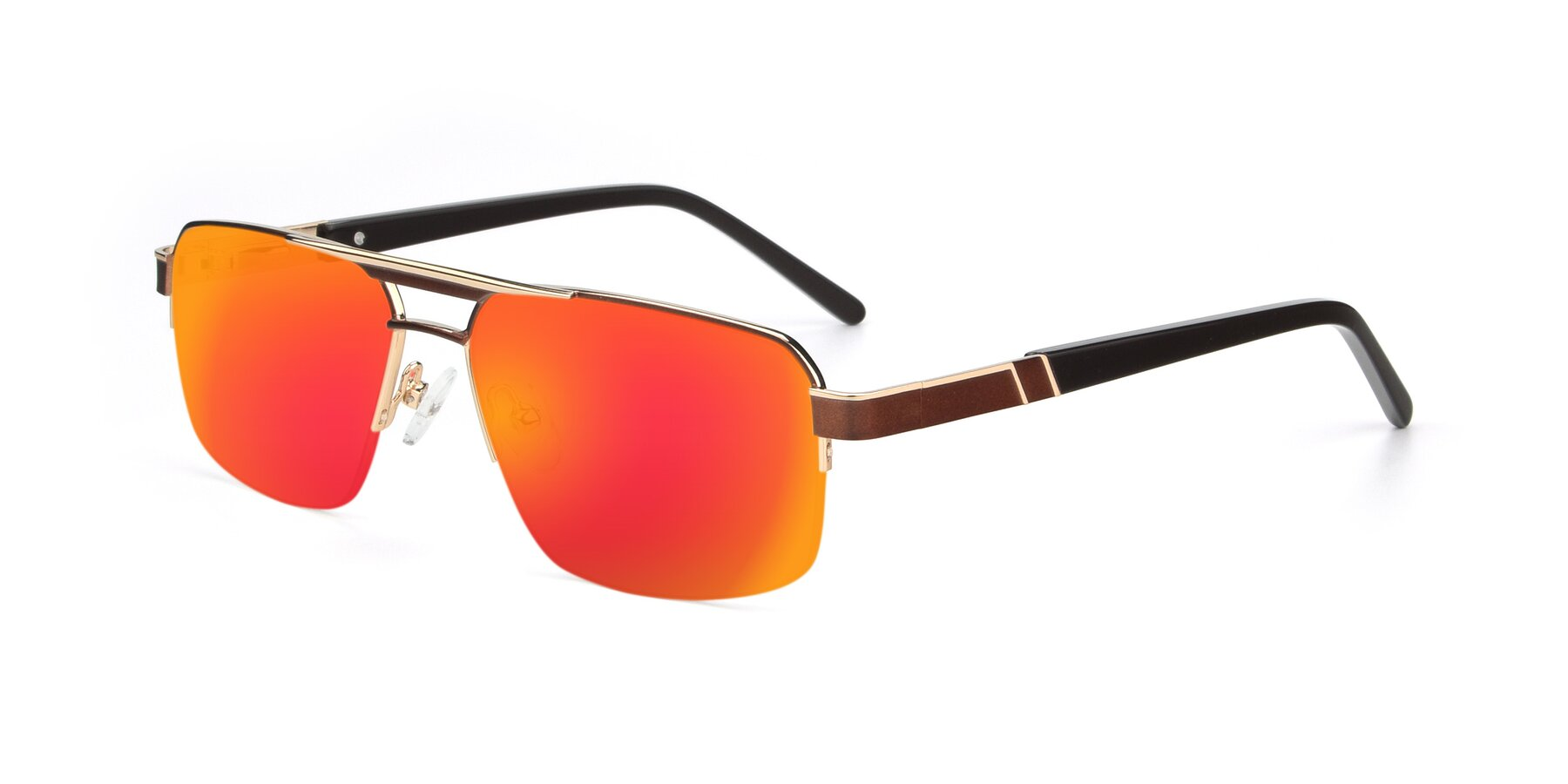 Angle of 19004 in Bronze-Gold with Red Gold Mirrored Lenses