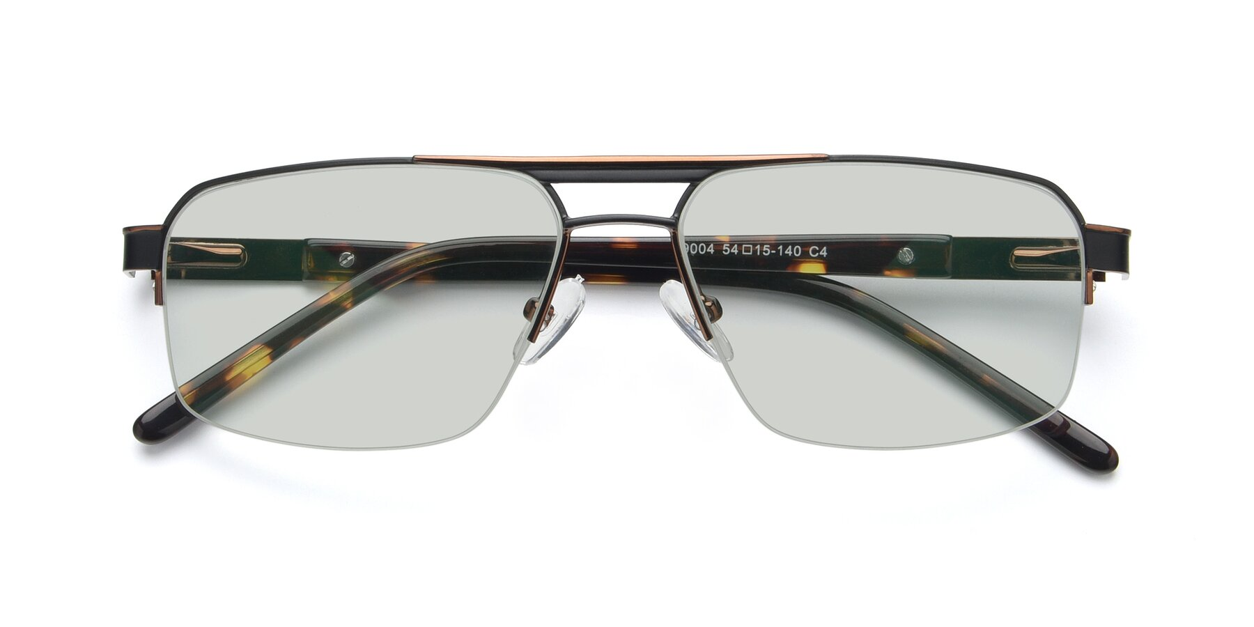 Folded Front of 19004 in Black-Bronze with Light Green Tinted Lenses