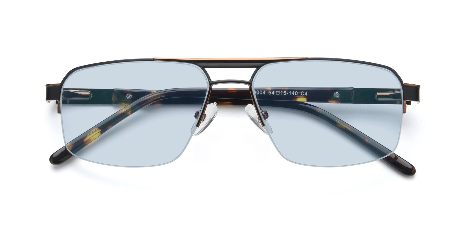 Folded Front of 19004 in Black-Bronze with Light Blue Tinted Lenses