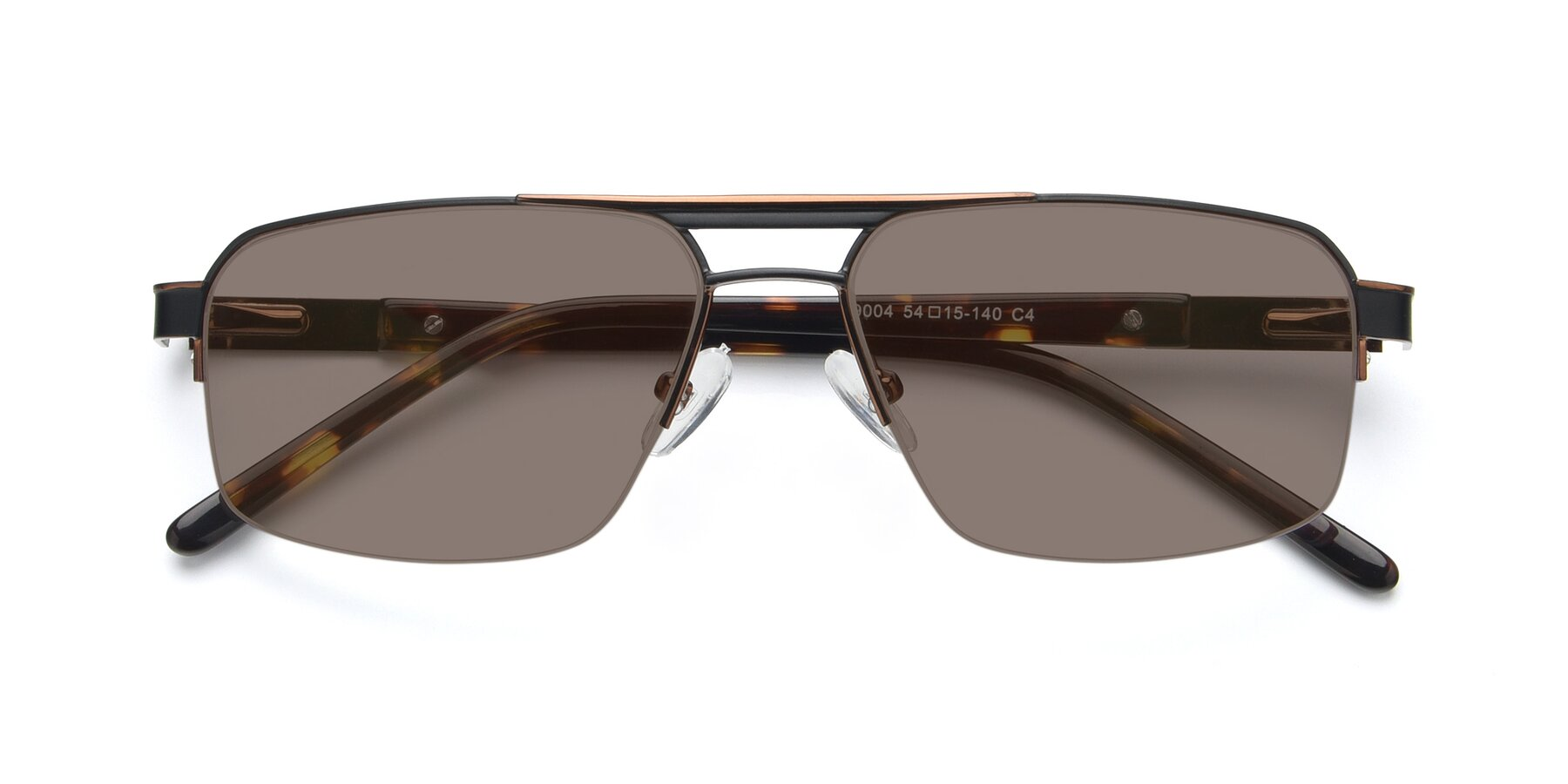 Folded Front of 19004 in Black-Bronze with Medium Brown Tinted Lenses