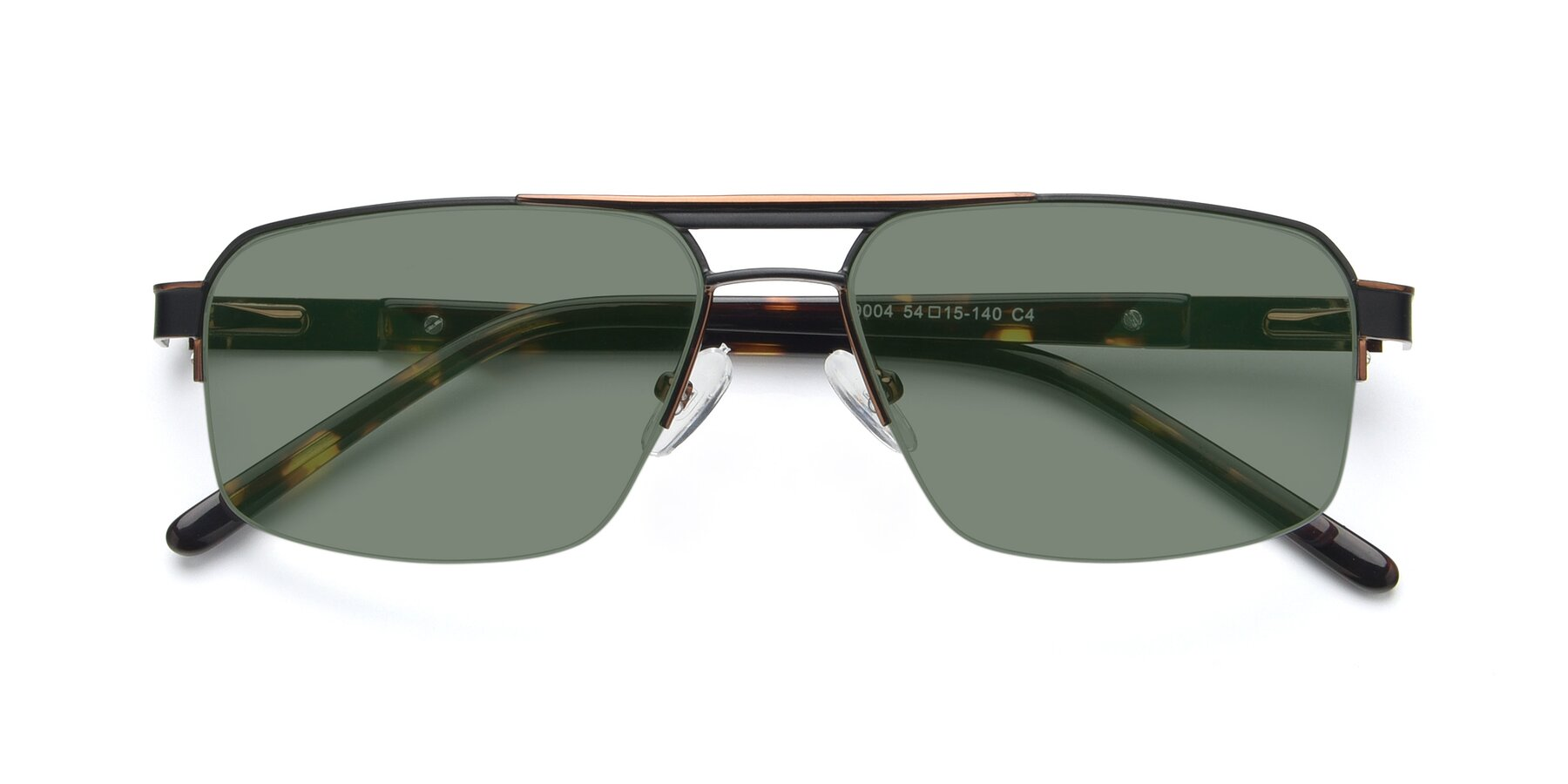Folded Front of 19004 in Black-Bronze with Medium Green Tinted Lenses
