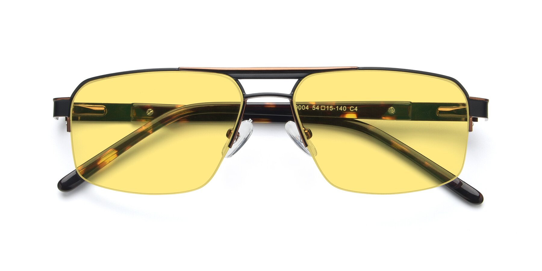 Folded Front of 19004 in Black-Bronze with Medium Yellow Tinted Lenses