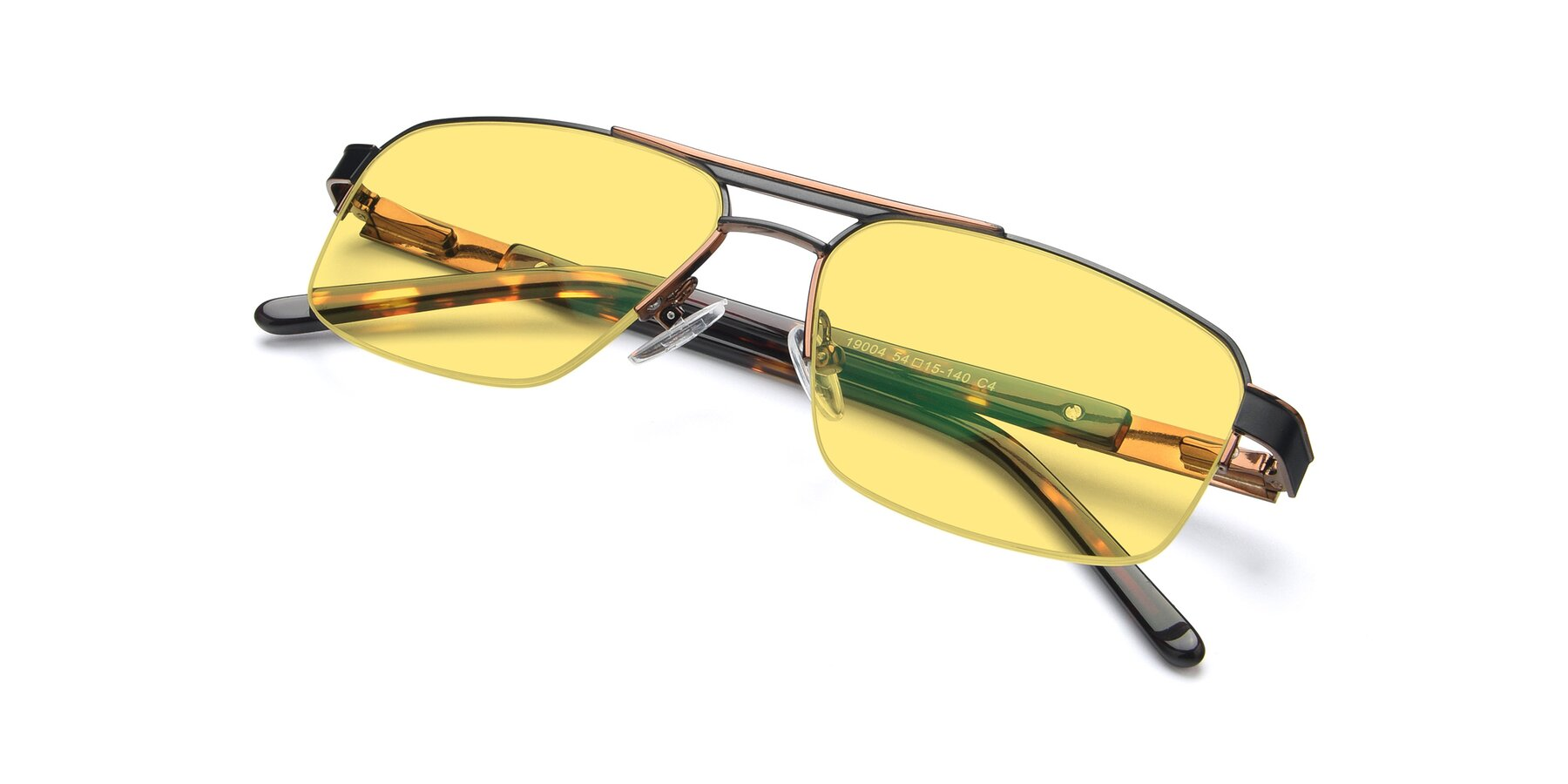 View of 19004 in Black-Bronze with Medium Yellow Tinted Lenses
